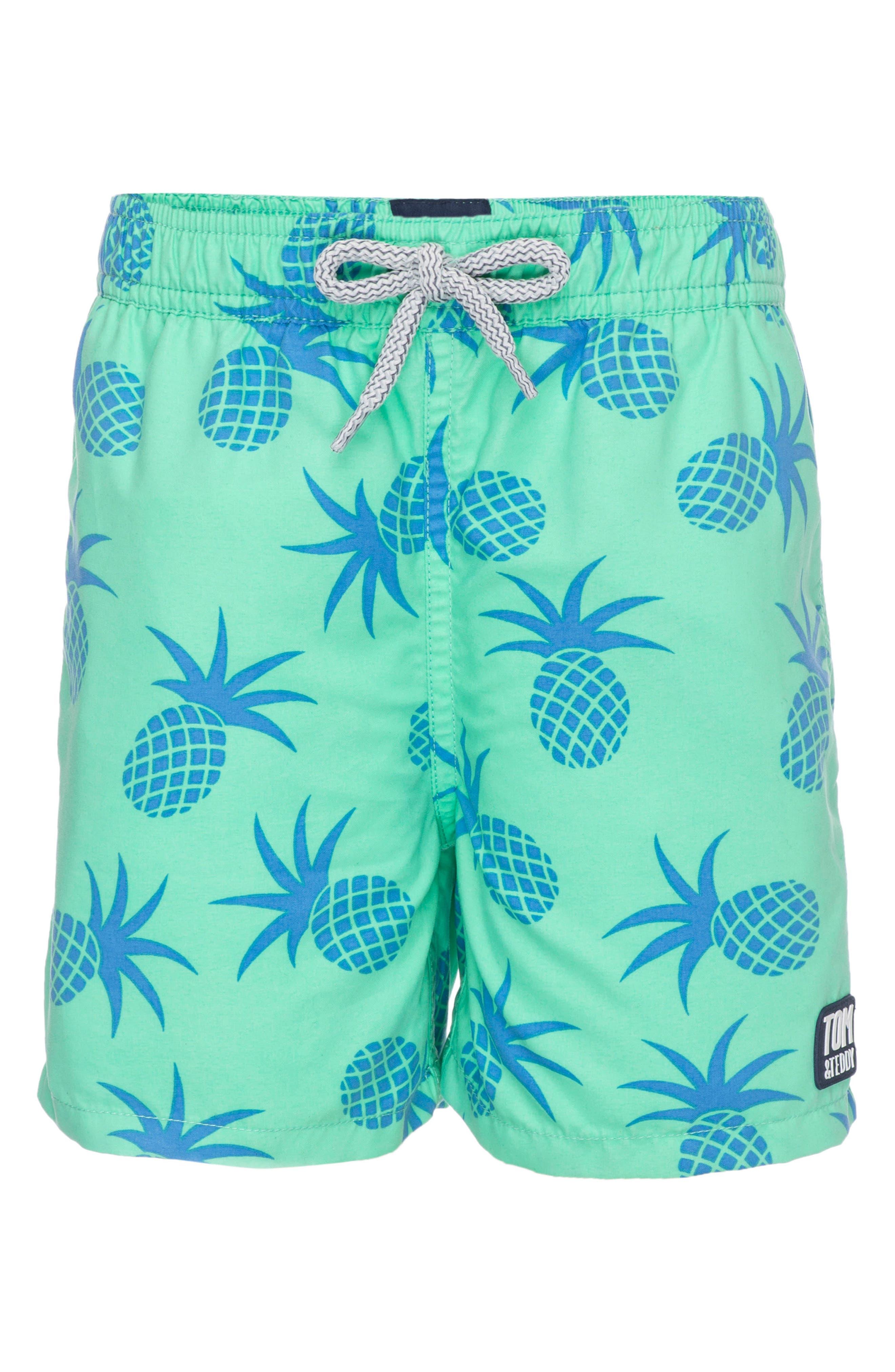 TOM & TEDDY, Pineapple Swim Trunks, Alternate thumbnail 3, color, JADE GREEN