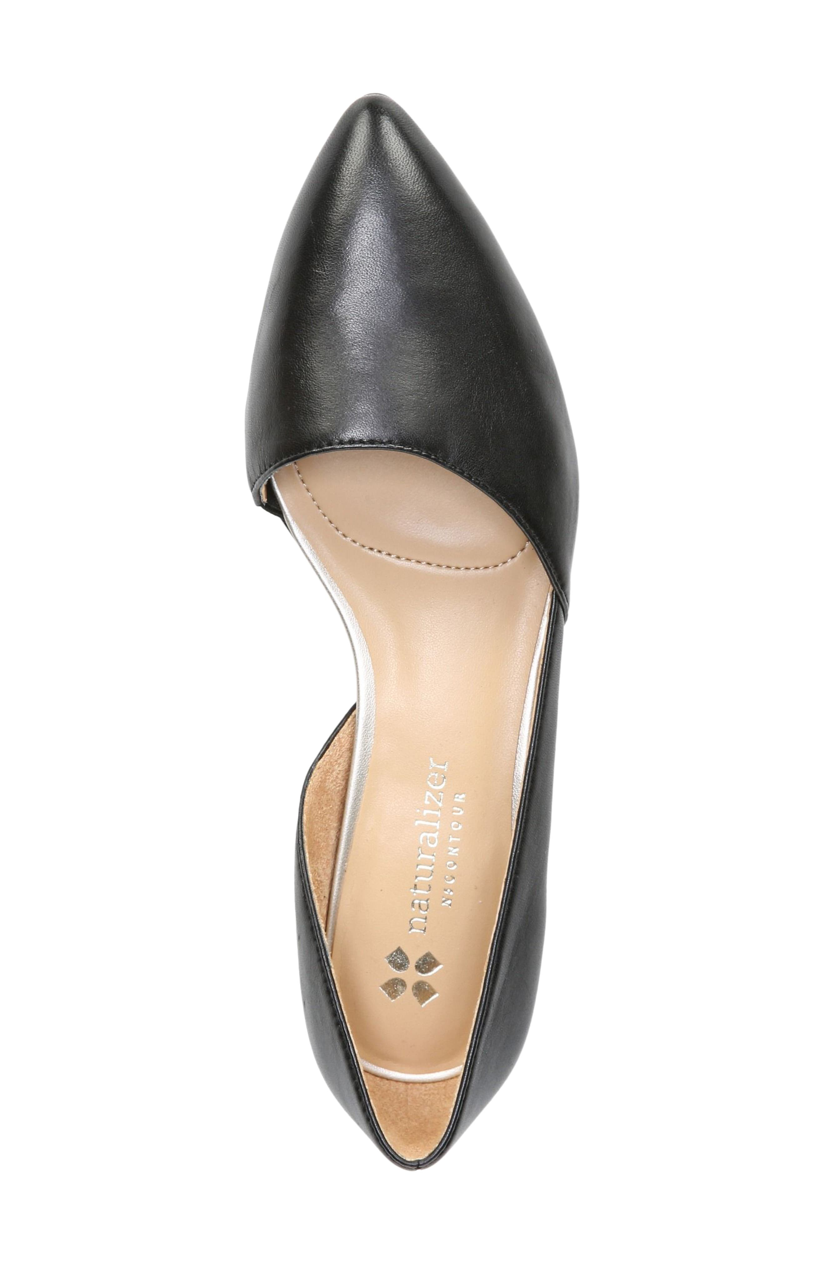 NATURALIZER, Samantha Half d'Orsay Flat, Alternate thumbnail 3, color, BLACK LEATHER