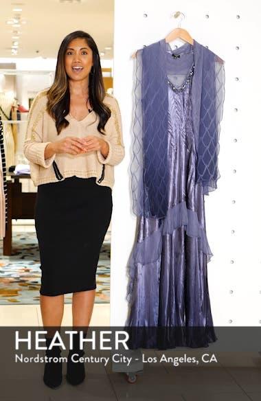 Beaded V-Neck Charmeuse & Chiffon Evening Dress with Wrap, sales video thumbnail
