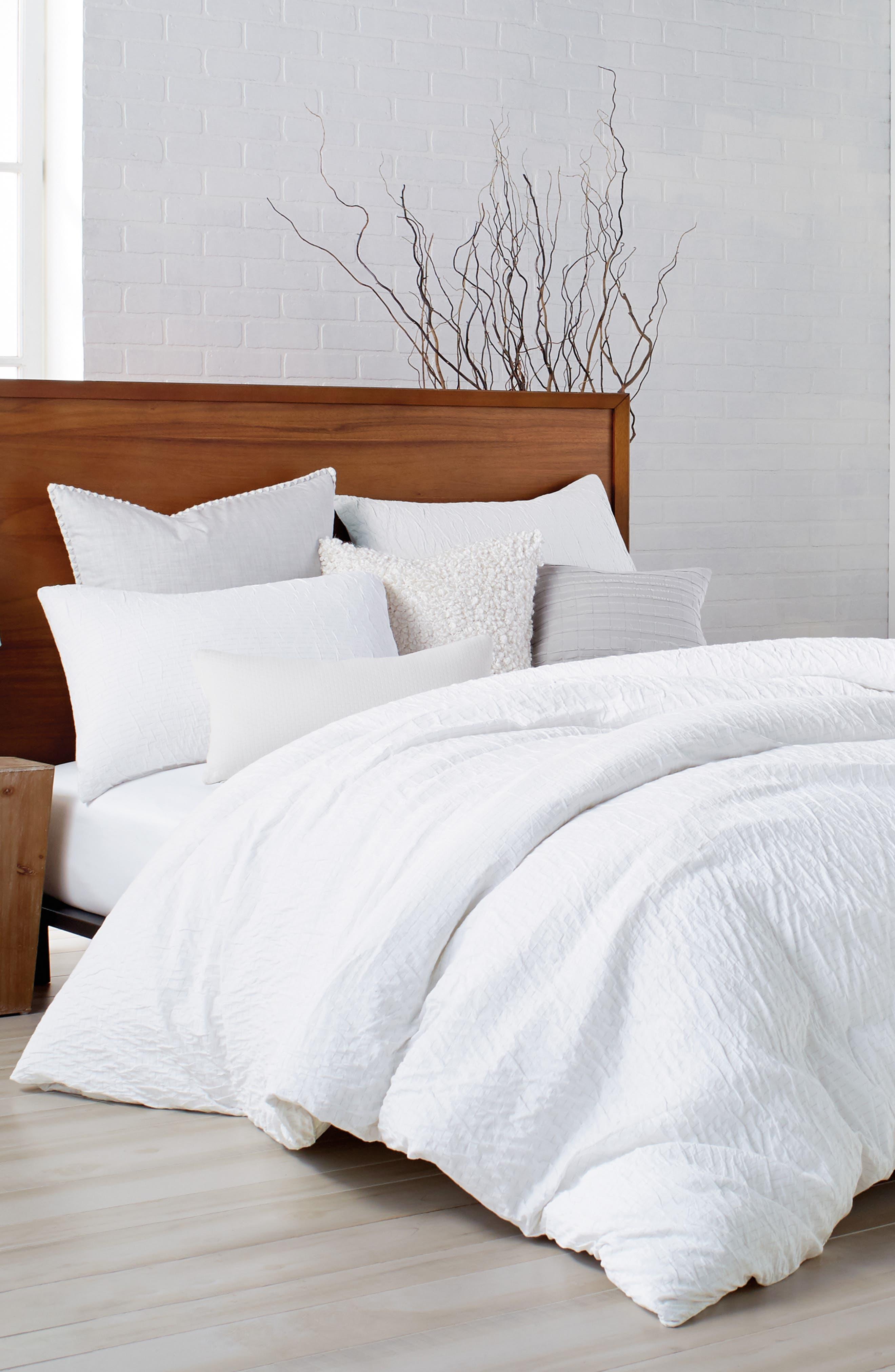 DKNY, PURE Crinkle Duvet Cover, Main thumbnail 1, color, WHITE