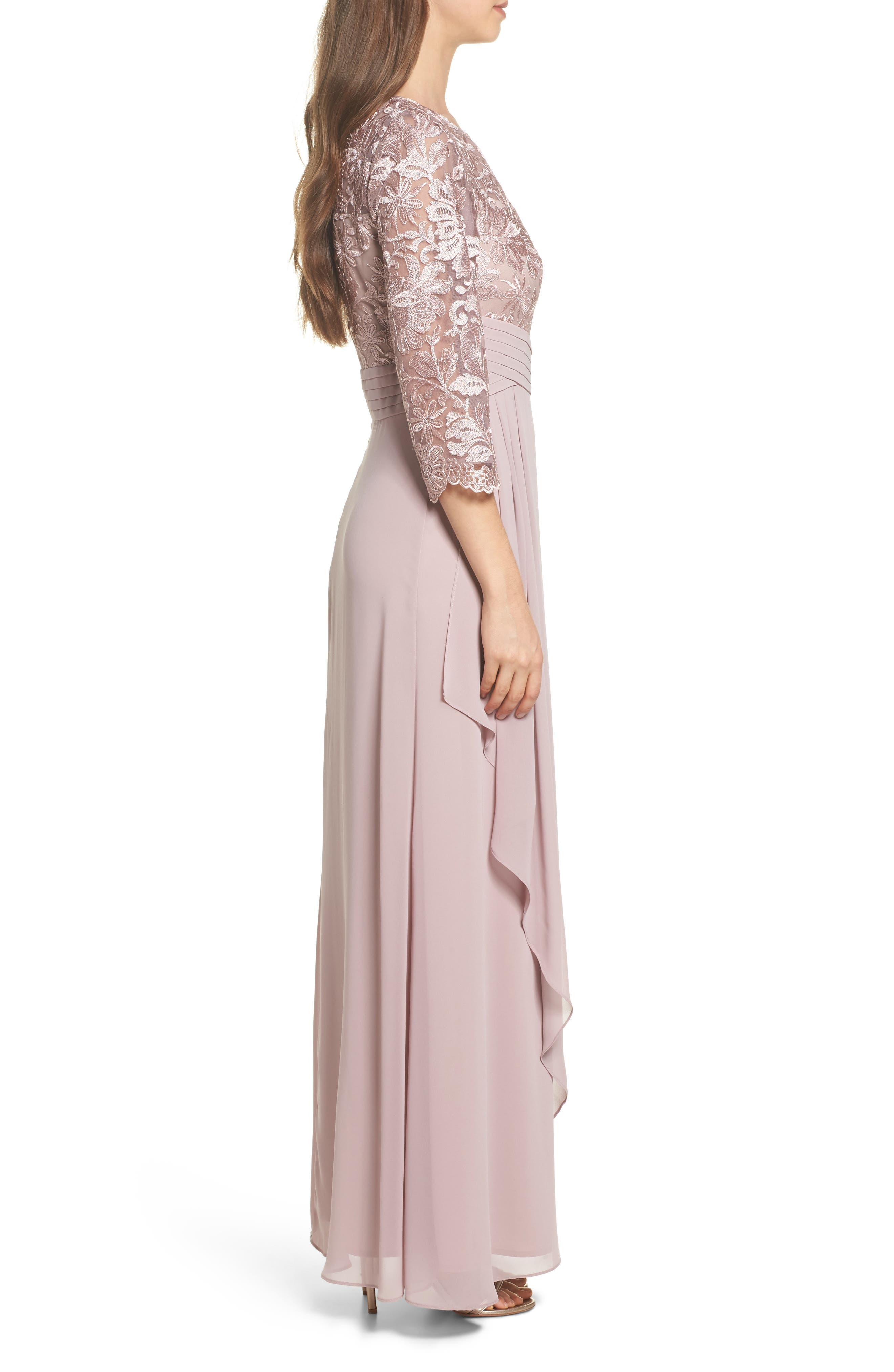ALEX EVENINGS, Embroidered A-Line Gown, Alternate thumbnail 3, color, 695