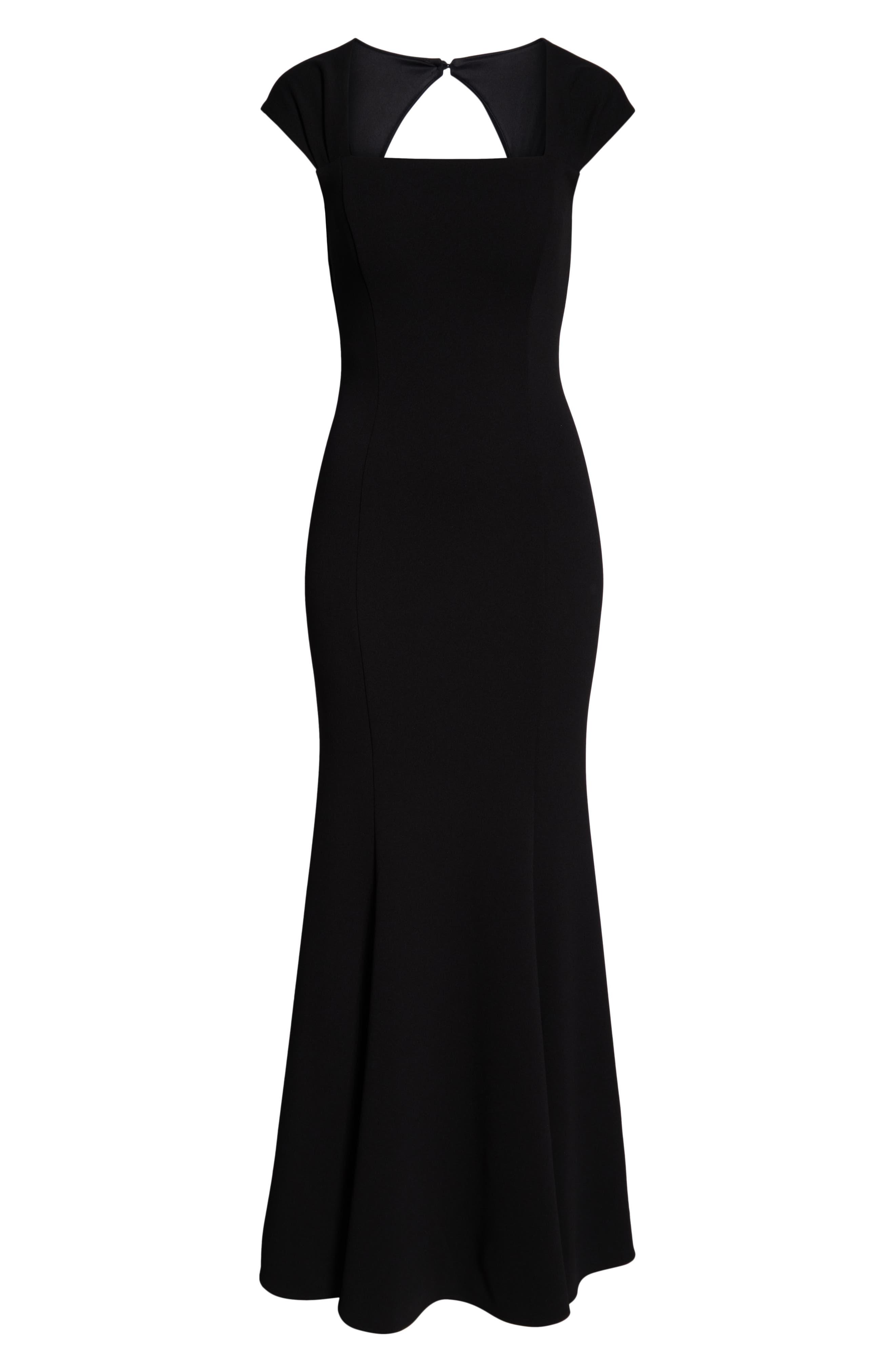 ELIZA J, Square Neck Scuba Crepe Evening Dress, Alternate thumbnail 8, color, BLACK