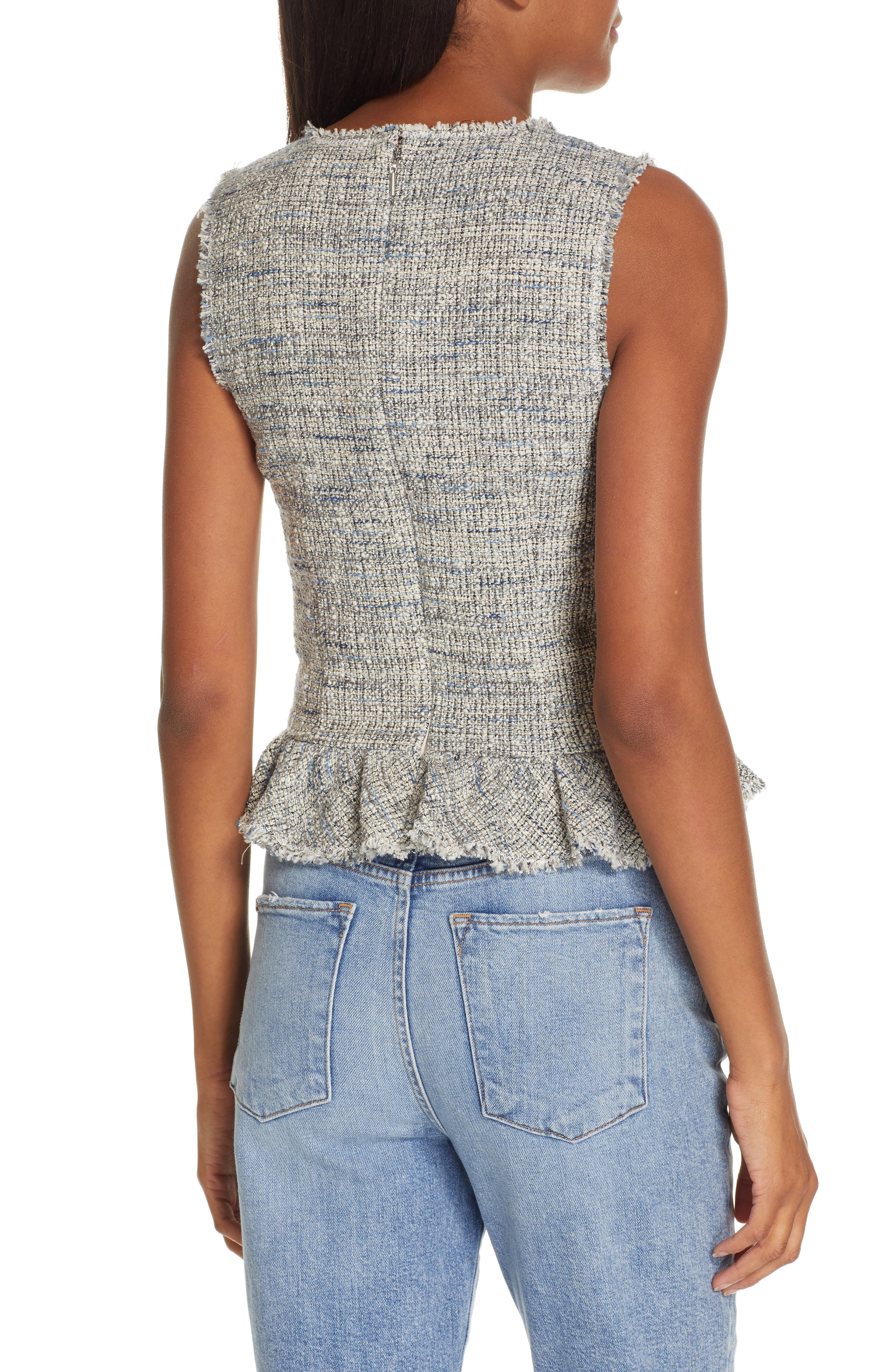 REBECCA TAYLOR, Sleeveless Tweed Peplum Top, Alternate thumbnail 2, color, BLUE/ GREY COMBO