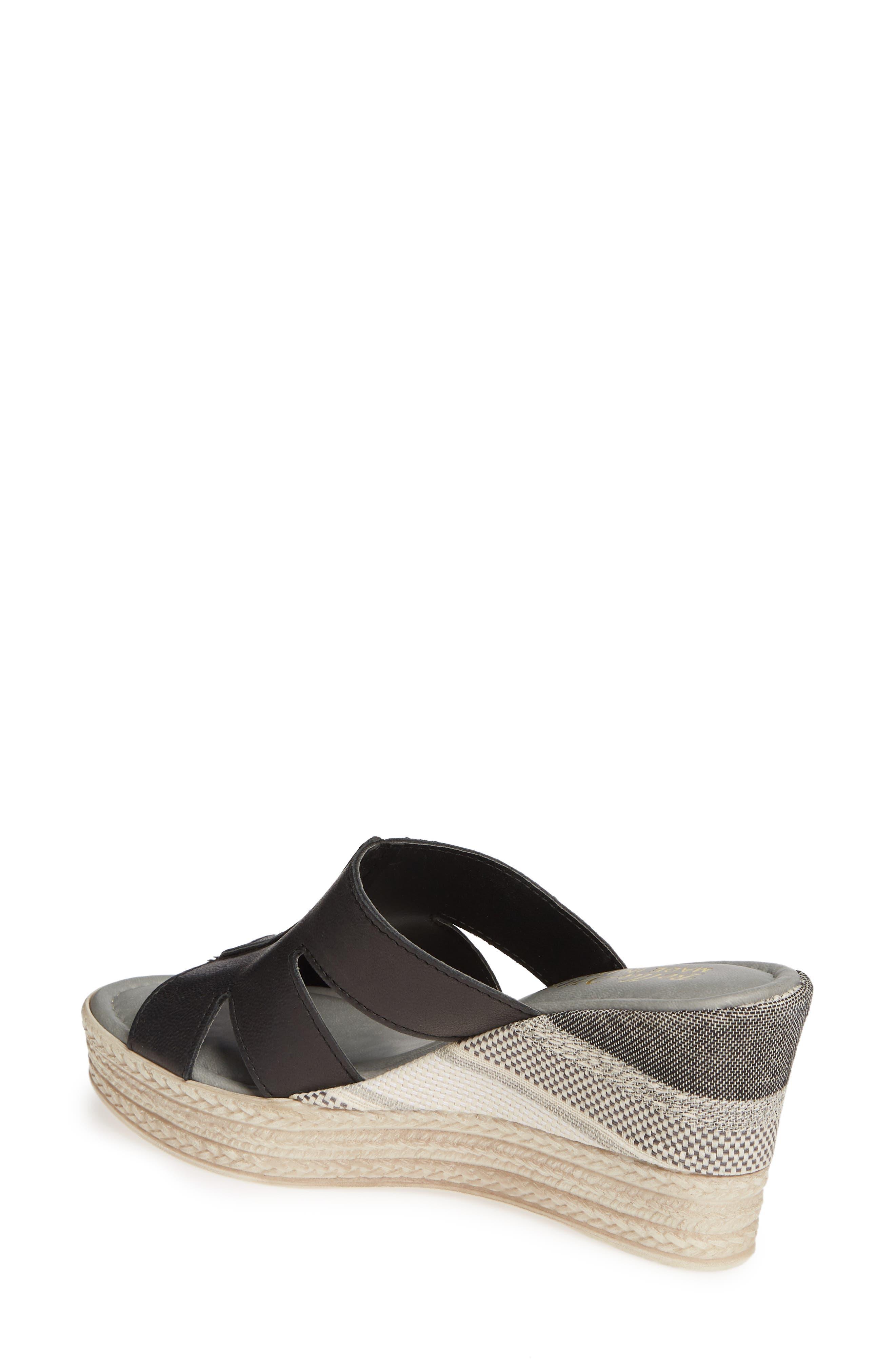 BELLA VITA, Rox Wedge Slide Sandal, Alternate thumbnail 2, color, BLACK ITALIAN LEATHER
