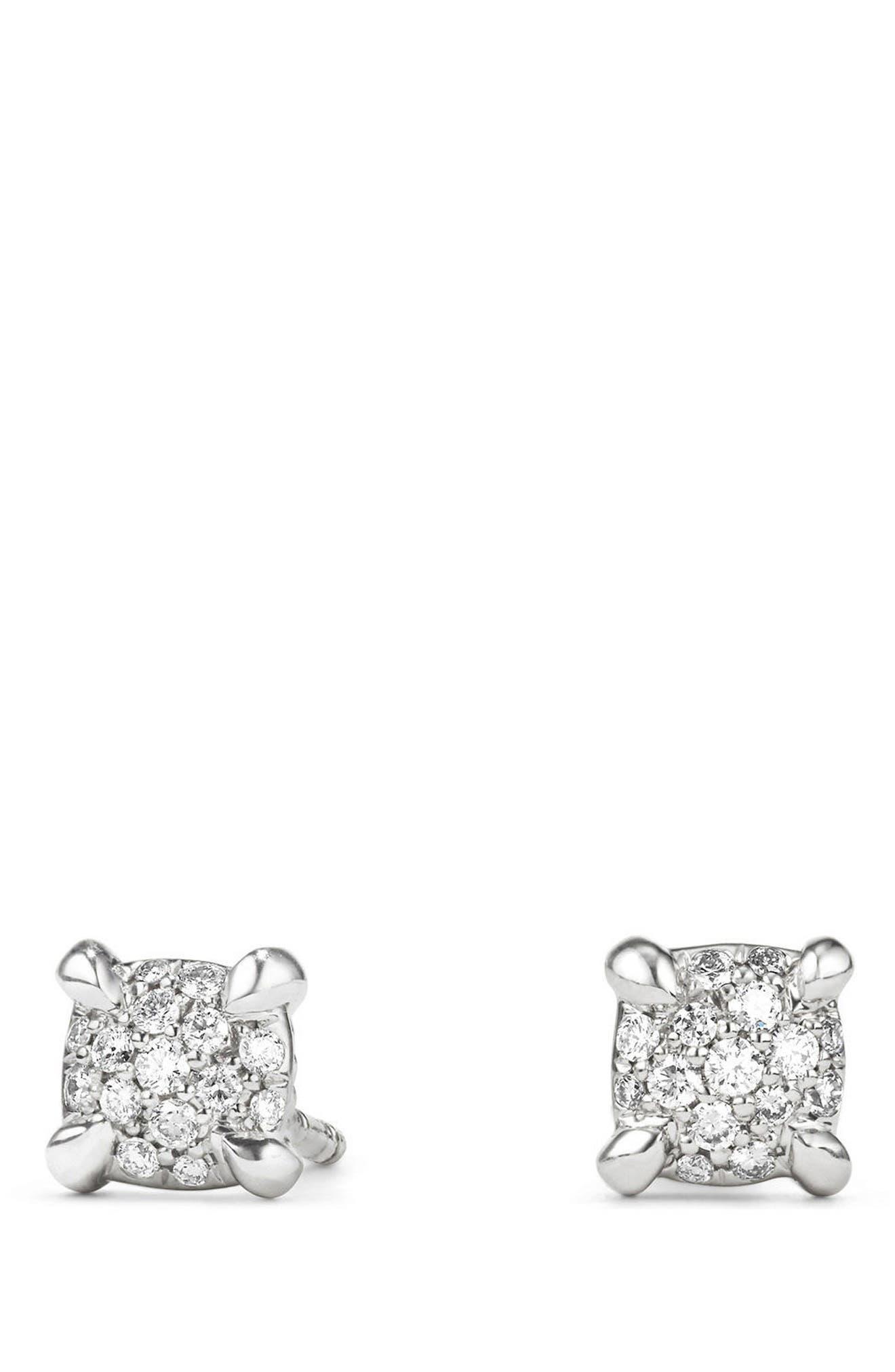 DAVID YURMAN, Châtelaine Stud Earrings with Diamonds, Main thumbnail 1, color, WHITE GOLD/ DIAMOND