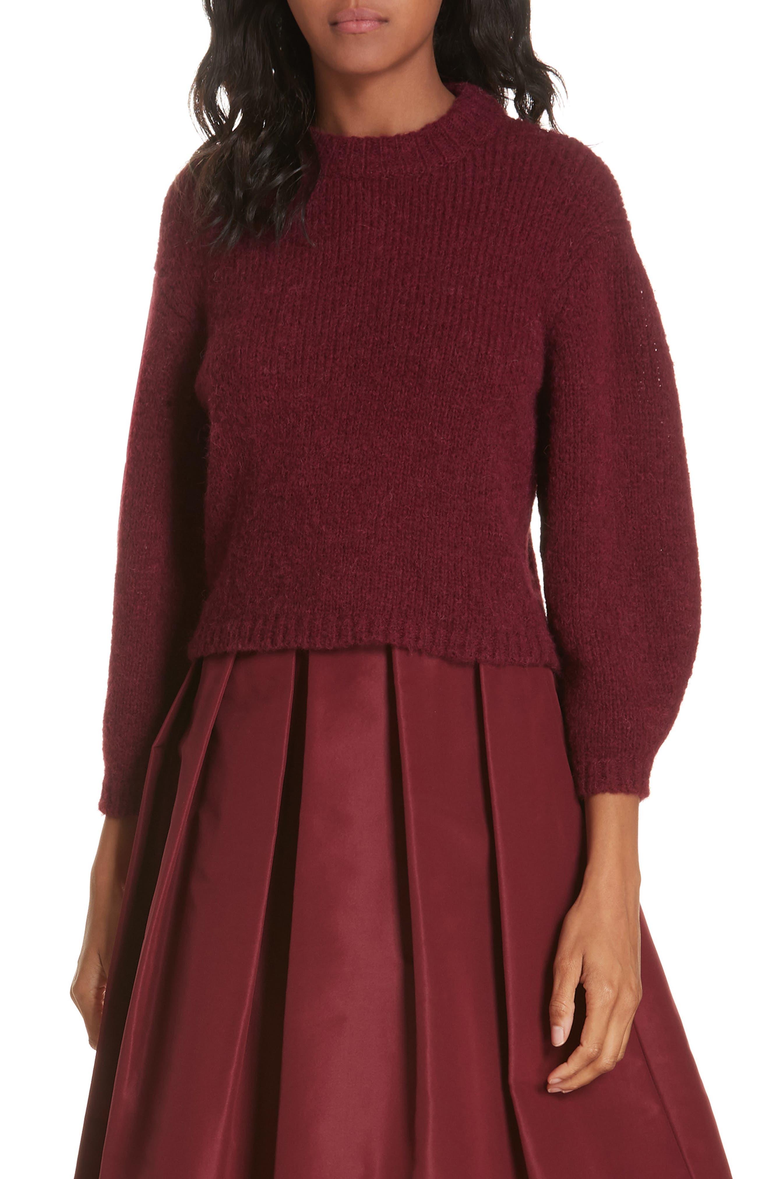 Tibi Cozette Alpaca & Wool Blend Crop Sweater, Burgundy