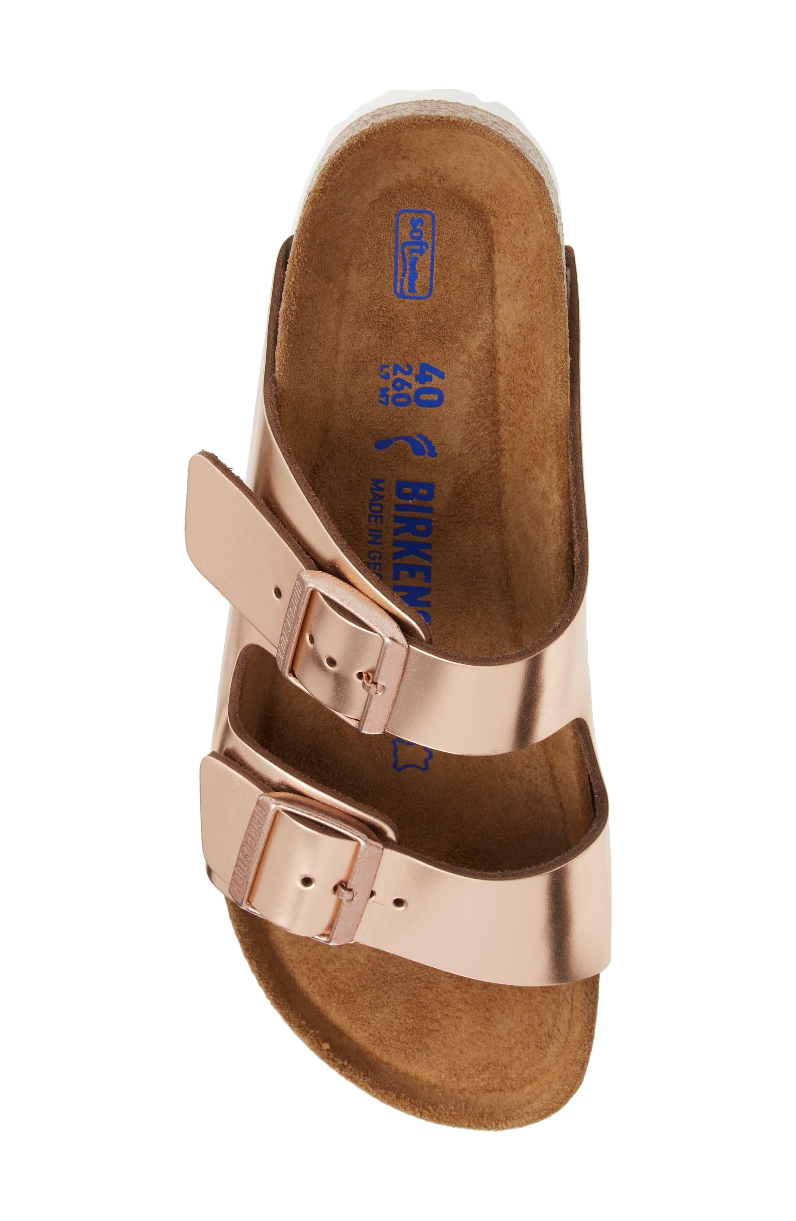 BIRKENSTOCK, 'Arizona' Soft Footbed Sandal, Alternate thumbnail 5, color, COPPER LEATHER