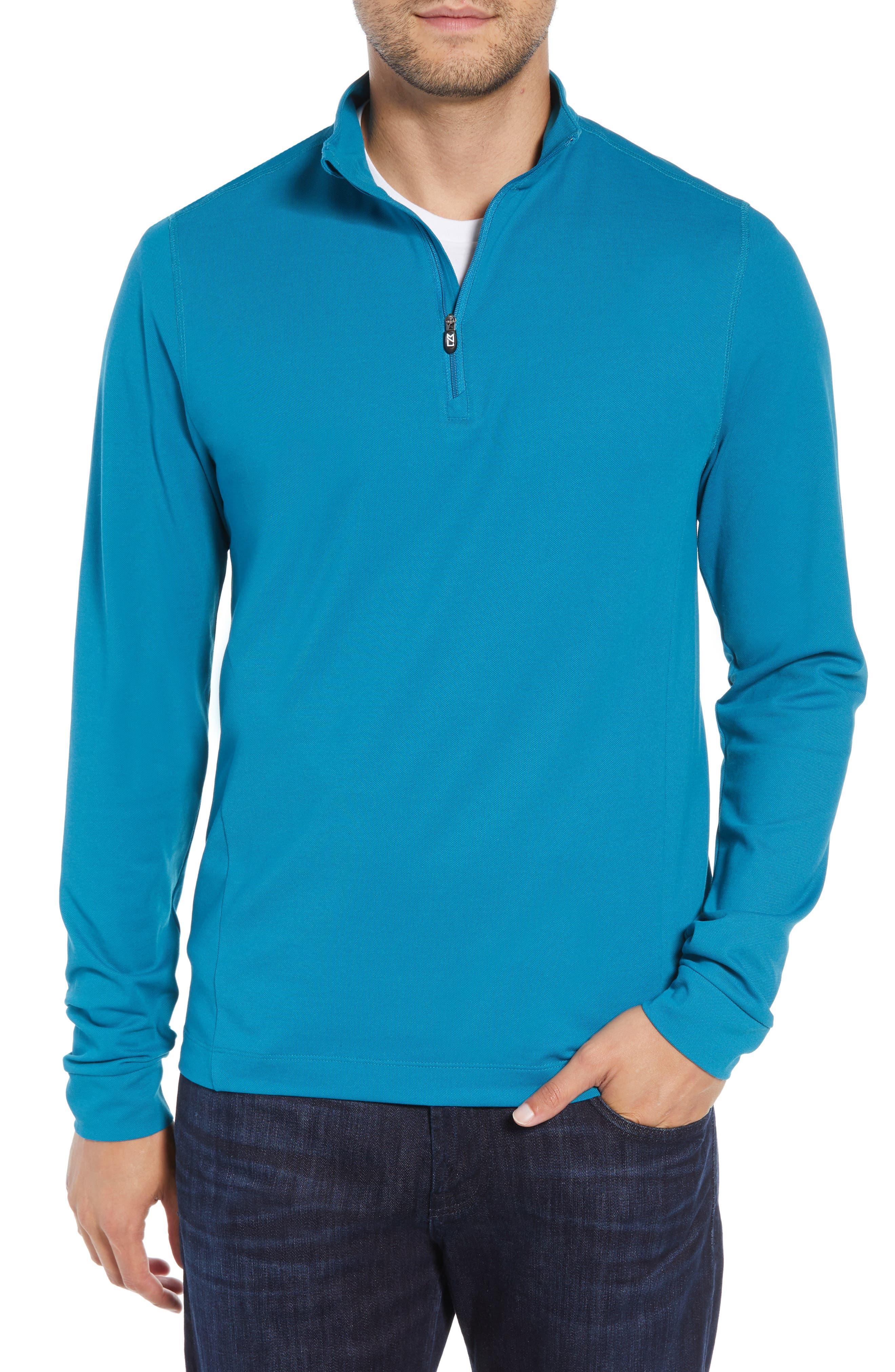 CUTTER & BUCK, Advantage Regular Fit DryTec Mock Neck Pullover, Main thumbnail 1, color, TEAL BLUE