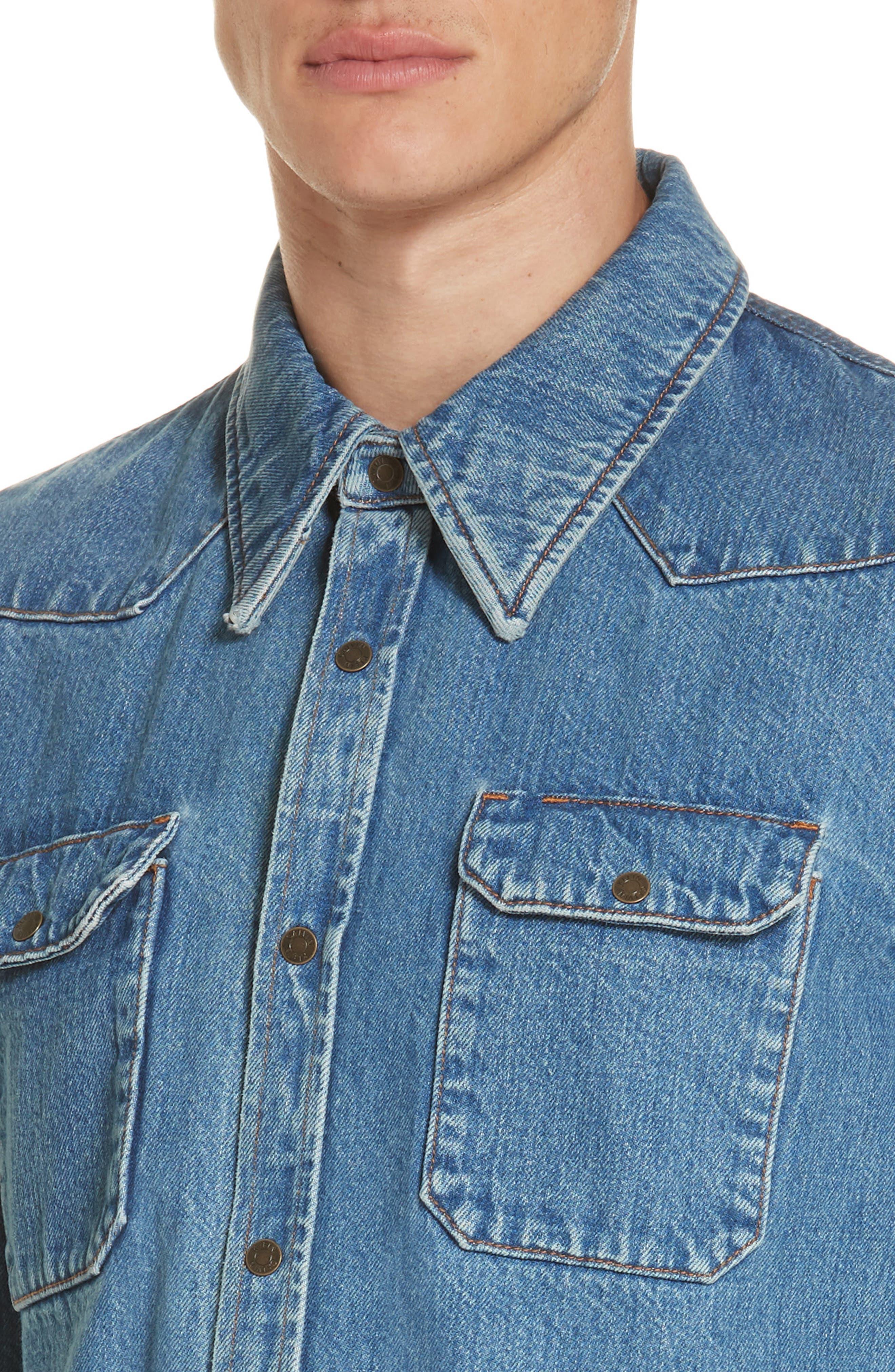 CALVIN KLEIN 205W39NYC, Denim Shirt, Alternate thumbnail 2, color, BLUE