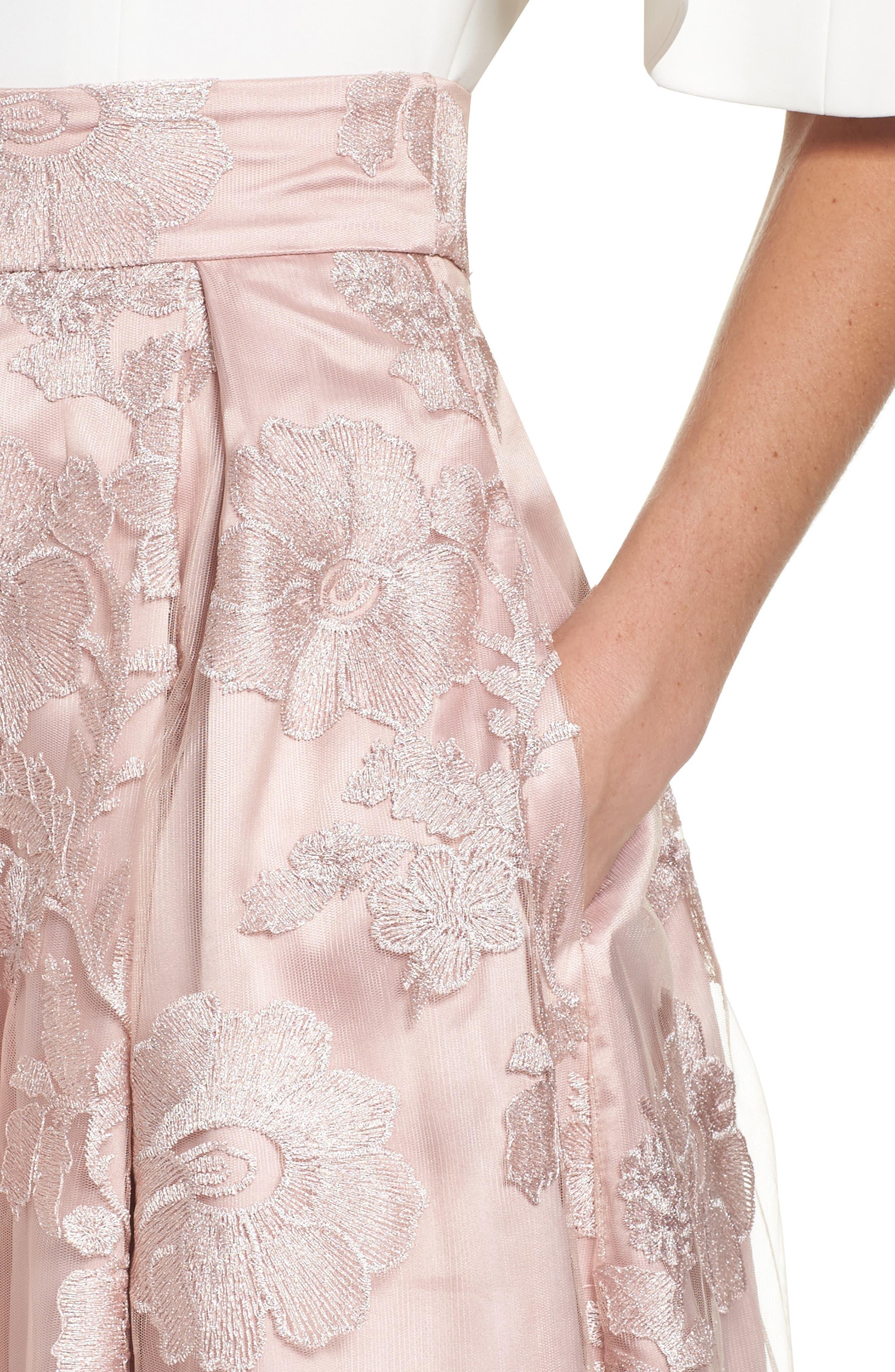 ELIZA J, Floral Embroidered Skirt, Alternate thumbnail 4, color, 254