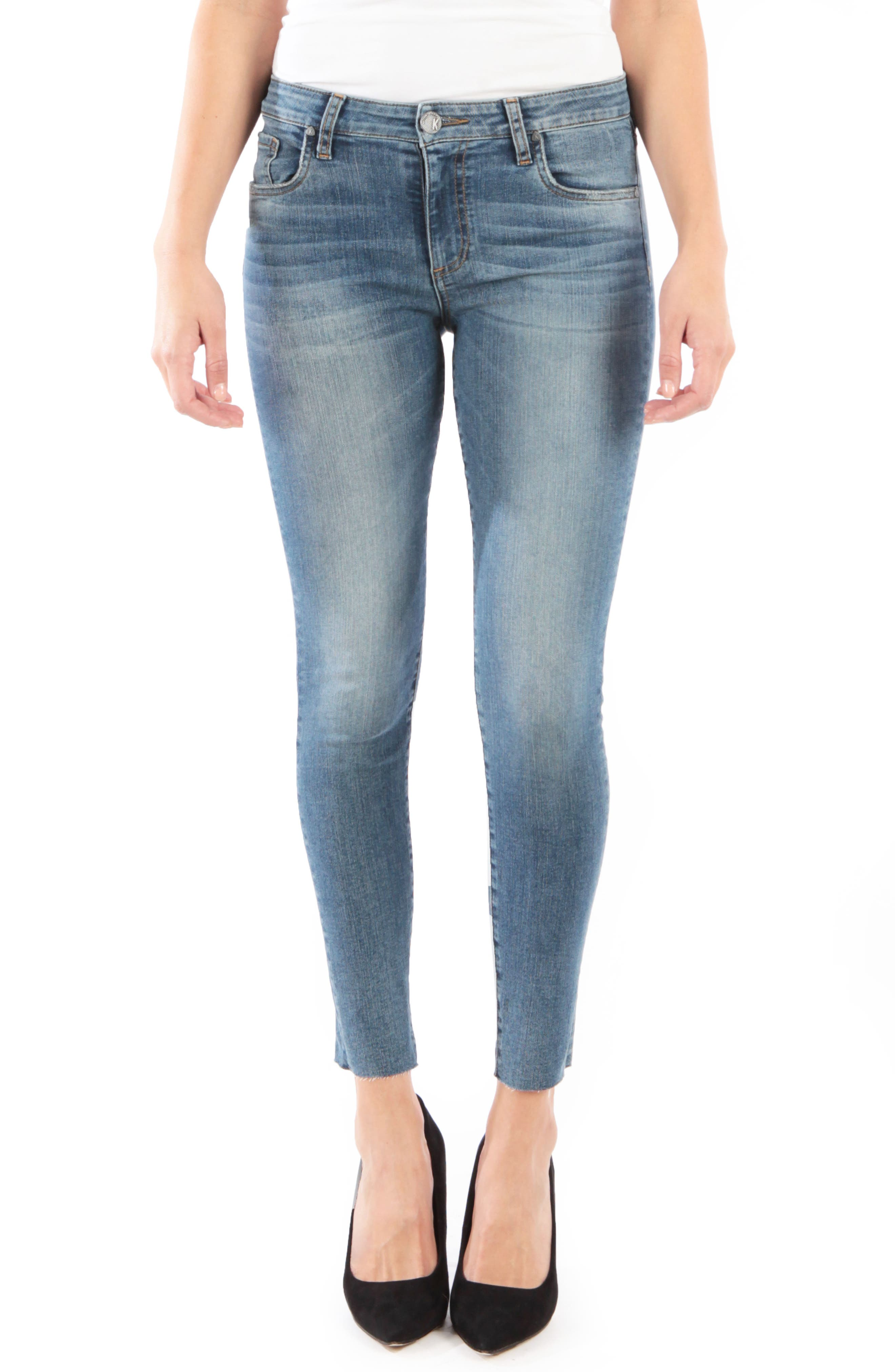 KUT FROM THE KLOTH, Donna High Waist Raw Hem Skinny Jeans, Main thumbnail 1, color, PHILOSOPHICAL