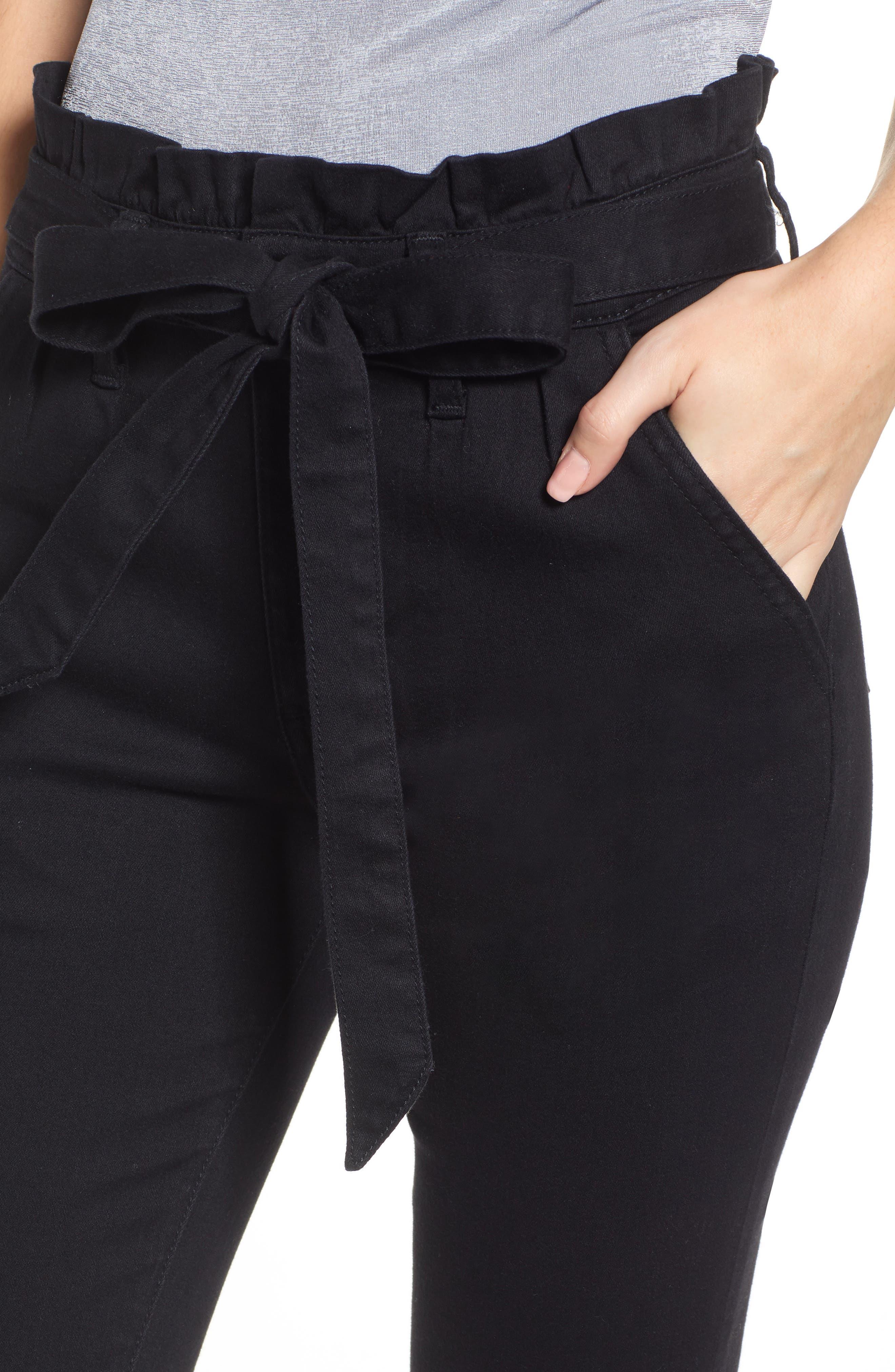 PROSPERITY DENIM, Paperbag Waist Skinny Jeans, Alternate thumbnail 5, color, BLACK