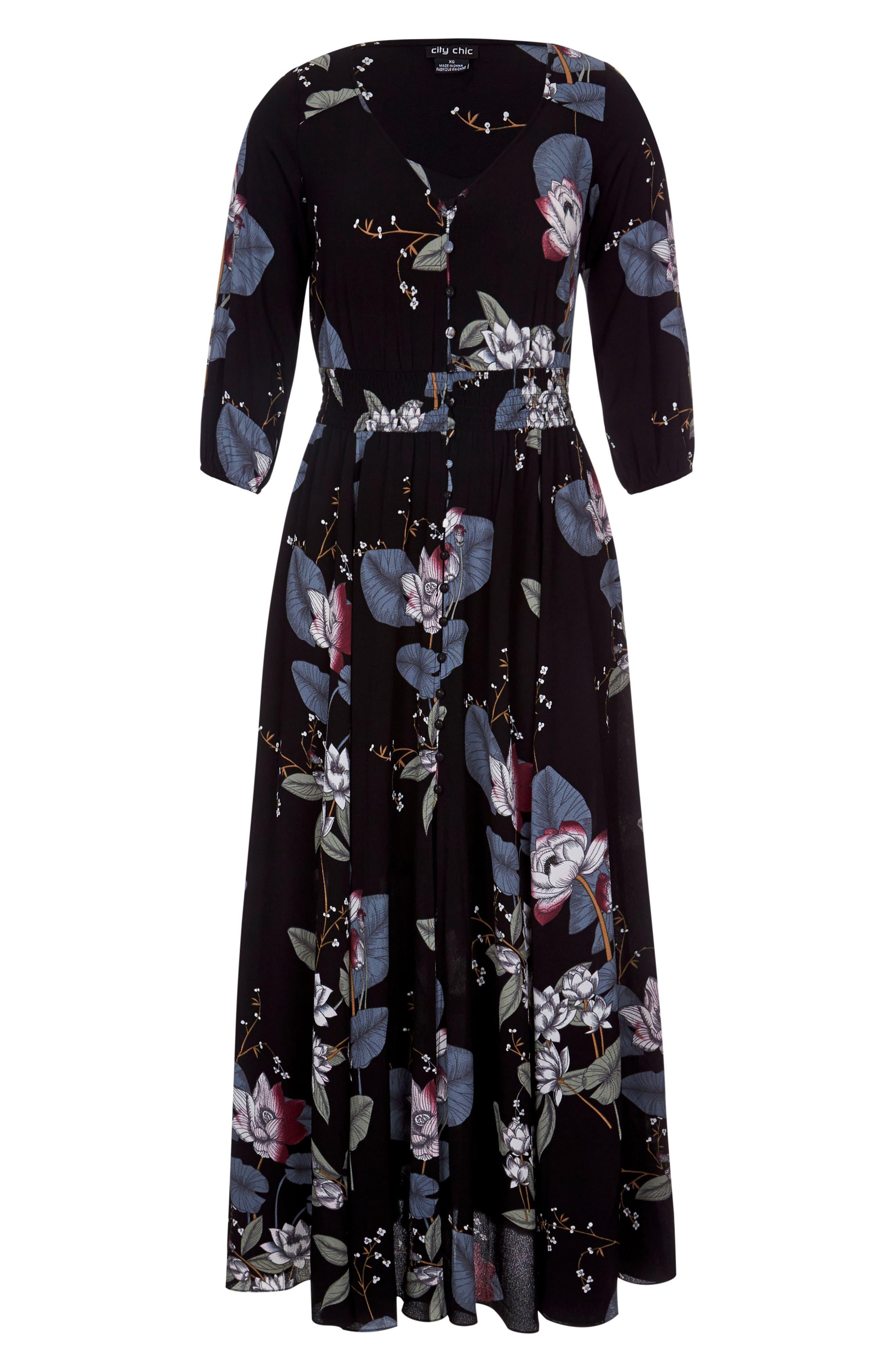 CITY CHIC, Blossom Maxi Dress, Alternate thumbnail 3, color, BLOSSOM