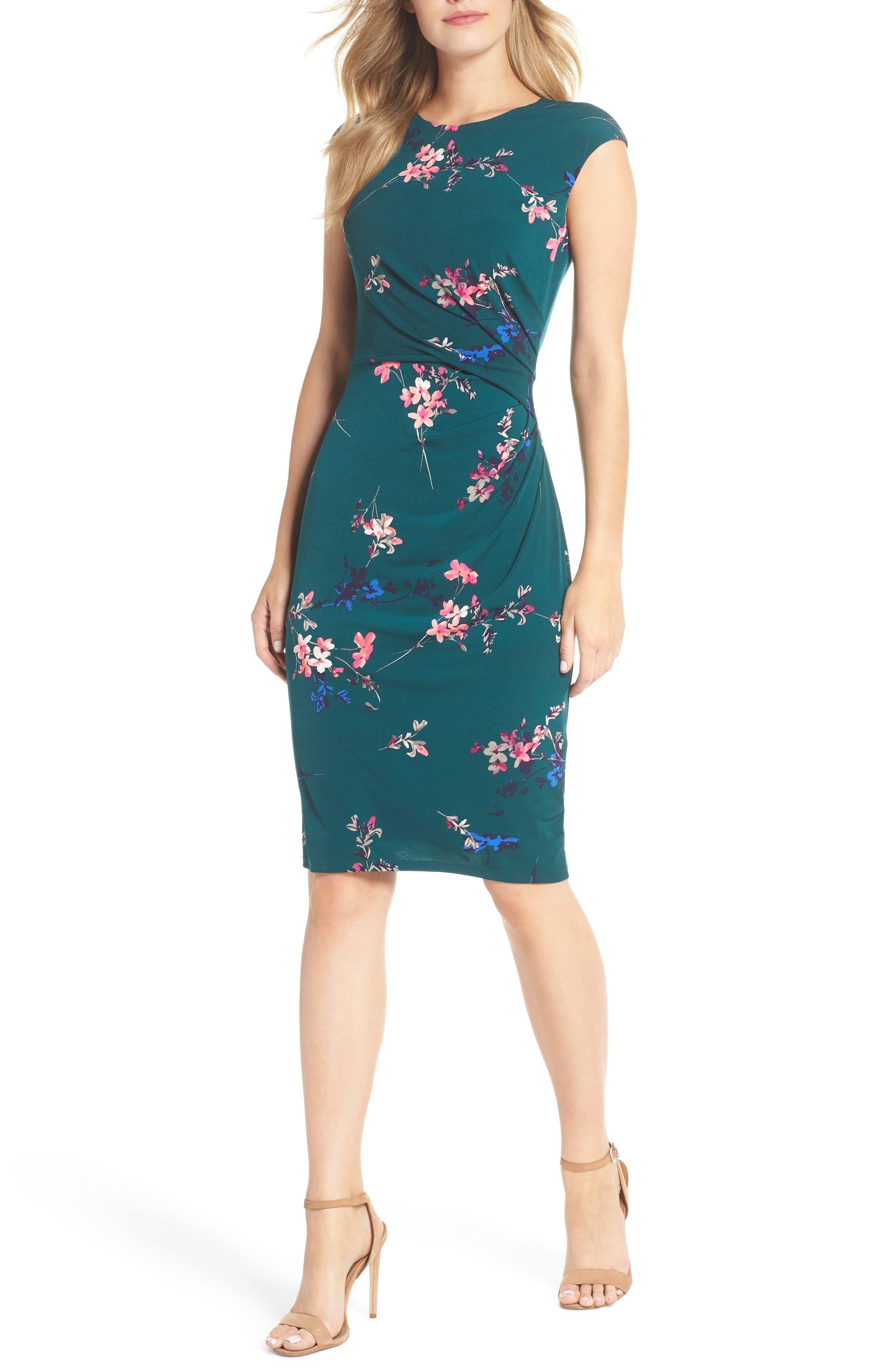 ELIZA J, Cap Sleeve Floral Print Sheath Dress, Main thumbnail 1, color, GREEN