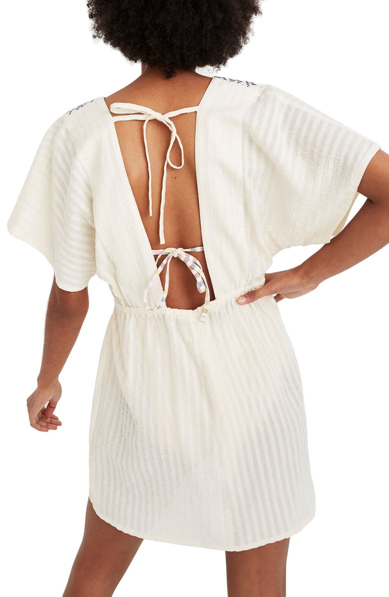 7818ac3b1755a Madewell Embroidered Tie Back Cover-Up Dress In Pearl Ivory | ModeSens