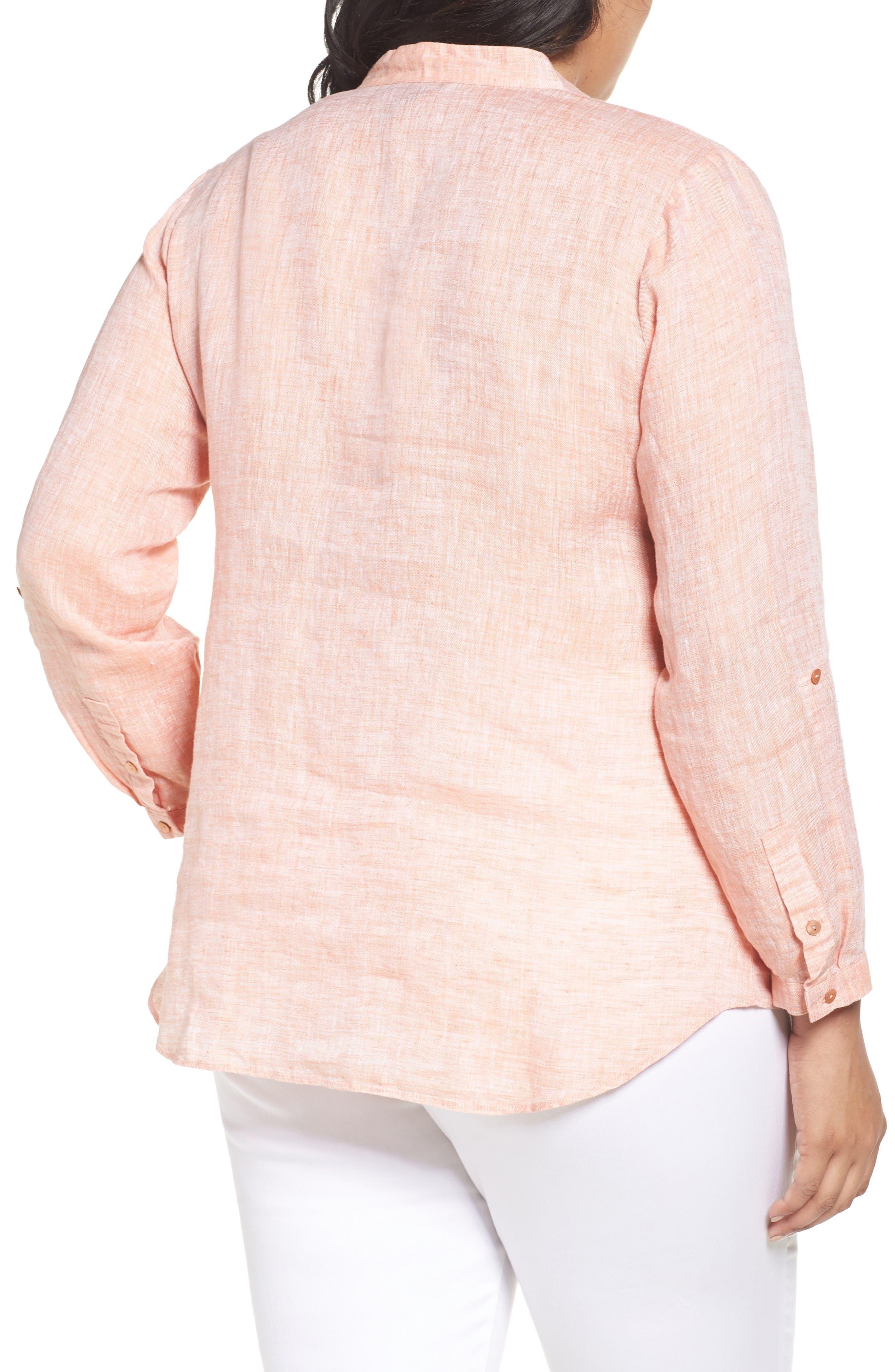 NIC+ZOE, Drifty Woven Linen Shirt, Alternate thumbnail 2, color, TANGERINE