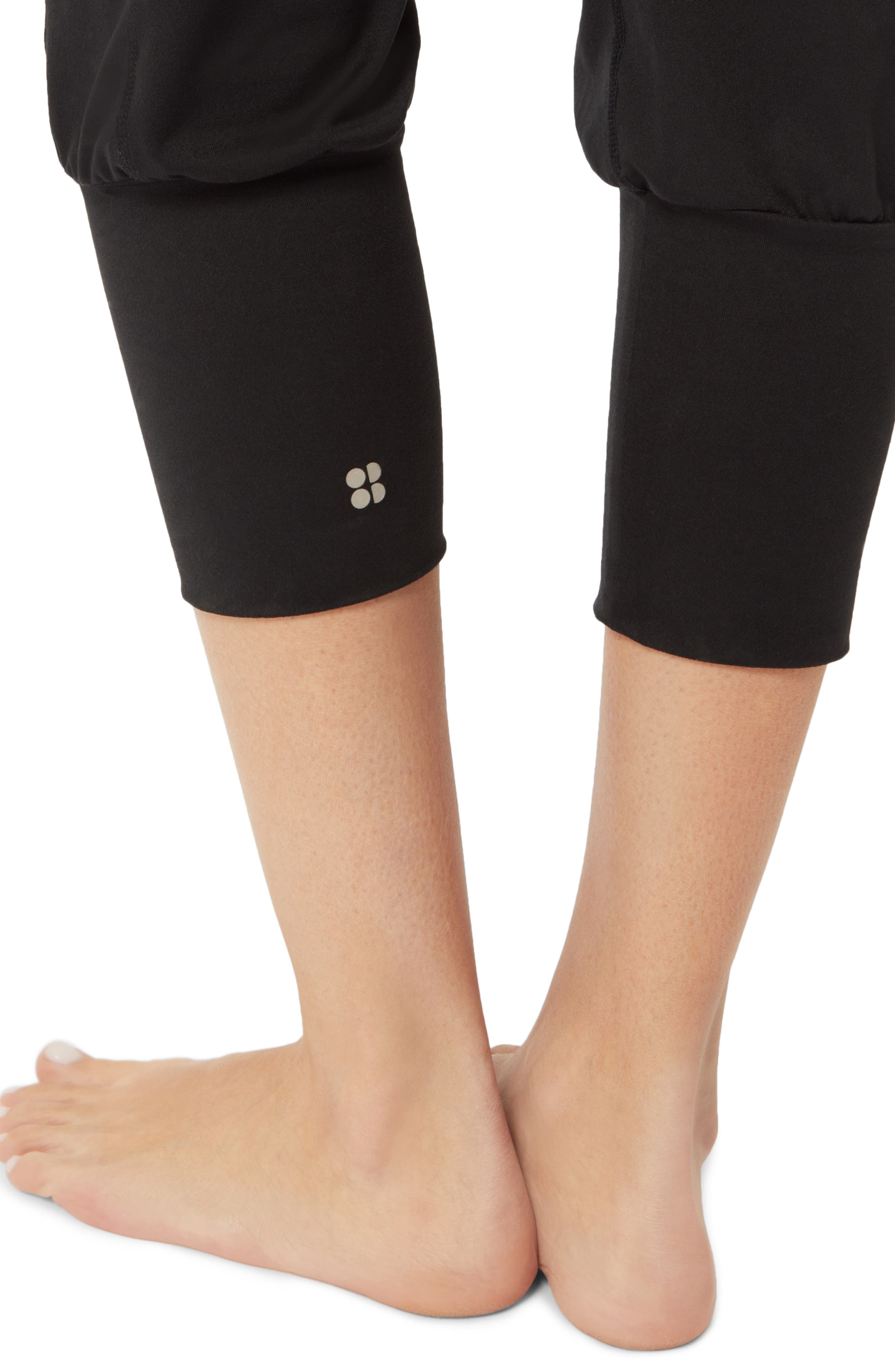 SWEATY BETTY, Garudasana Crop Yoga Trousers, Alternate thumbnail 6, color, BLACK