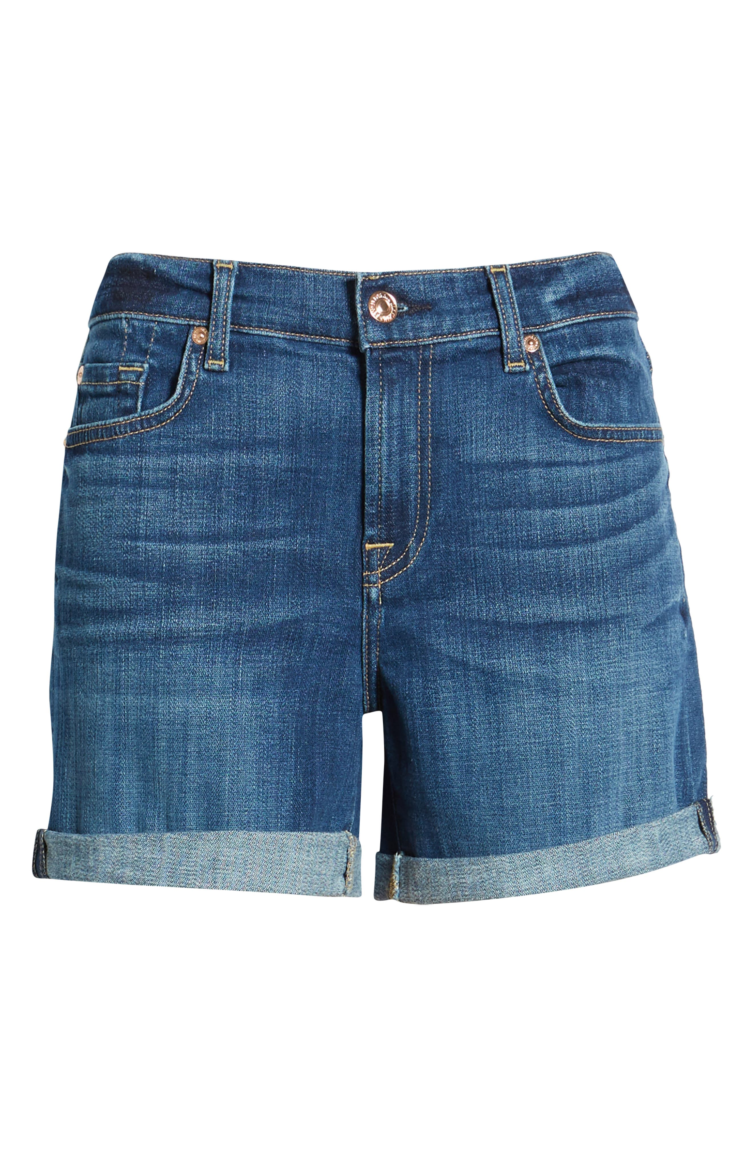 7 FOR ALL MANKIND<SUP>®</SUP>, Roll Cuff Denim Shorts, Alternate thumbnail 7, color, BROKEN TWILL VANITY CLEAN