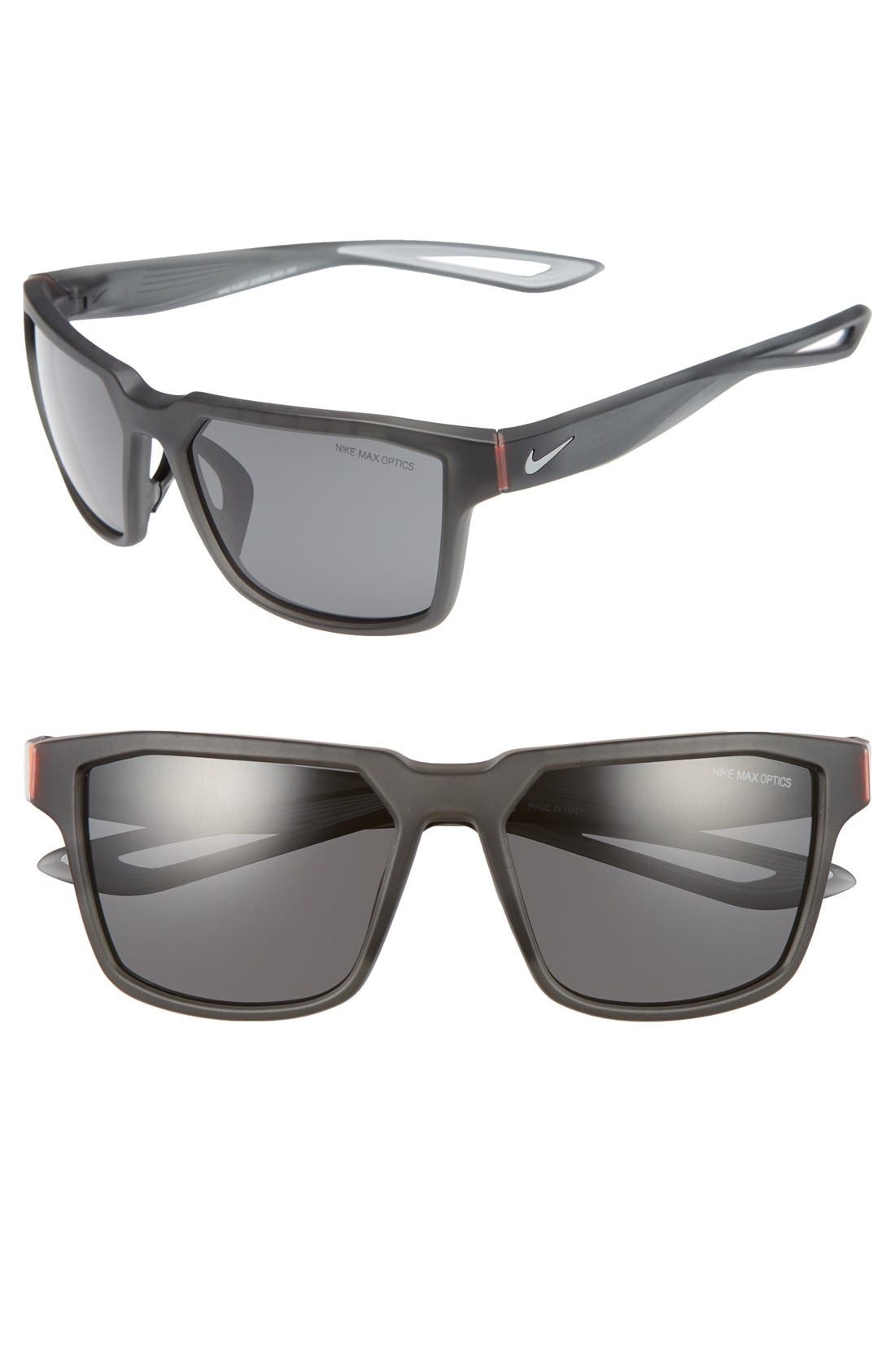 NIKE, Fleet 55mm Sport Sunglasses, Main thumbnail 1, color, MATTE ANTHRACITE