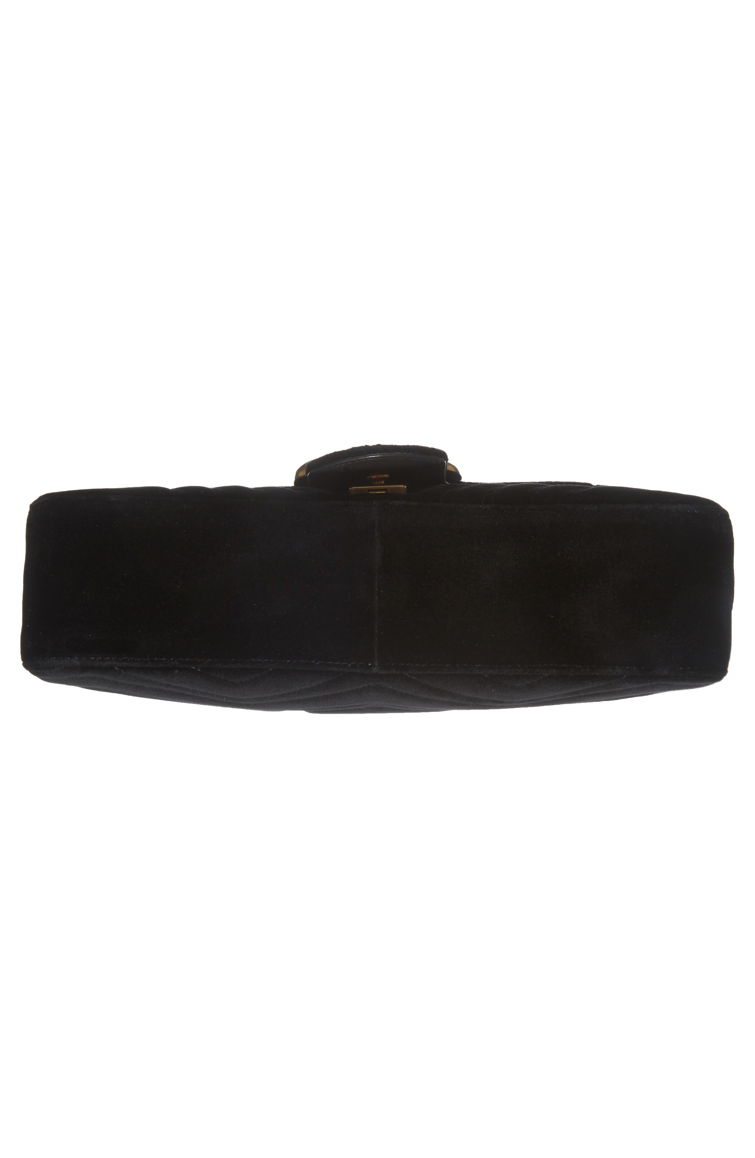 GUCCI, Medium GG Marmont 2.0 Matelassé Velvet Shoulder Bag, Alternate thumbnail 6, color, NERO