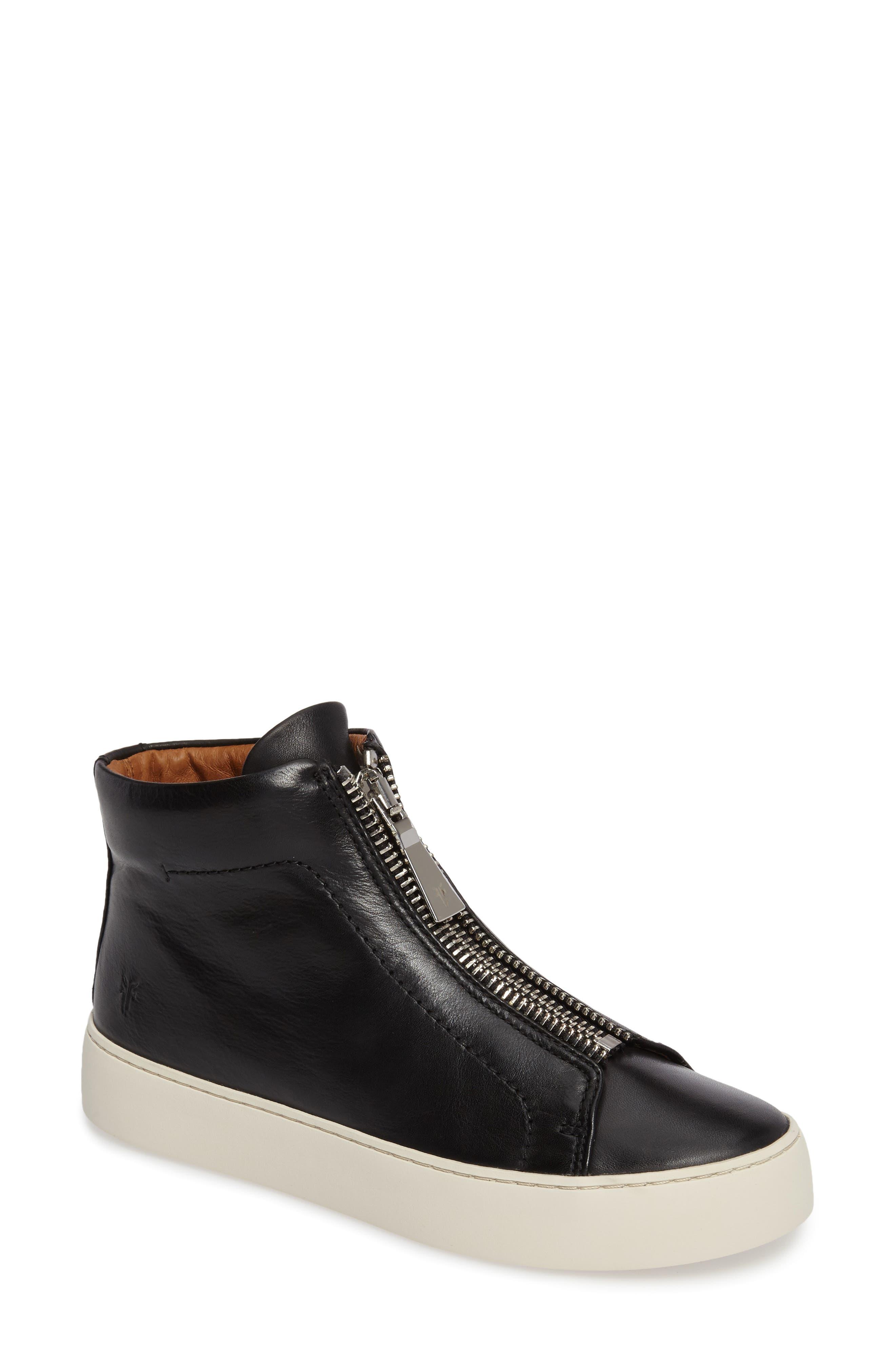 FRYE, Lena Zip High Top Sneaker, Main thumbnail 1, color, BLACK LEATHER