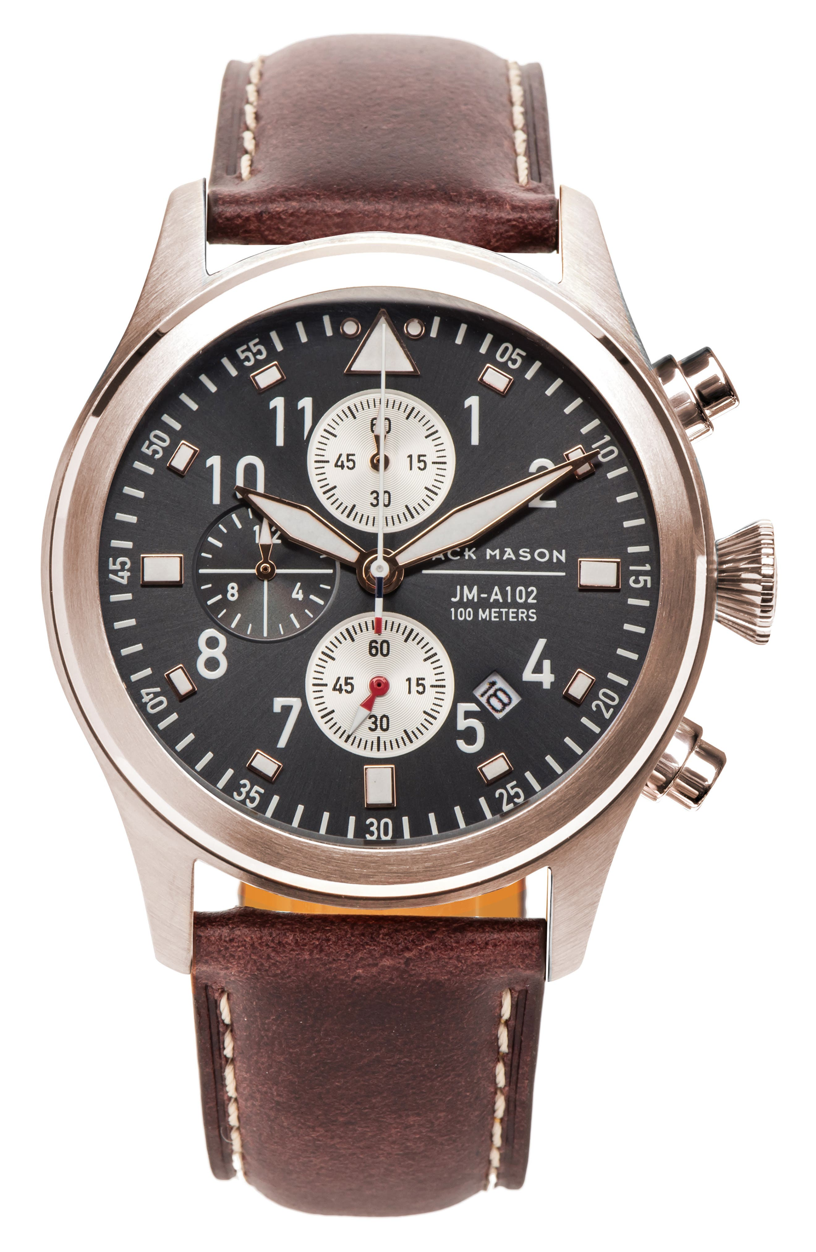 JACK MASON, Aviation Chronograph Leather Strap Watch, 42mm, Main thumbnail 1, color, ROSE GOLD/GREY/BROWN