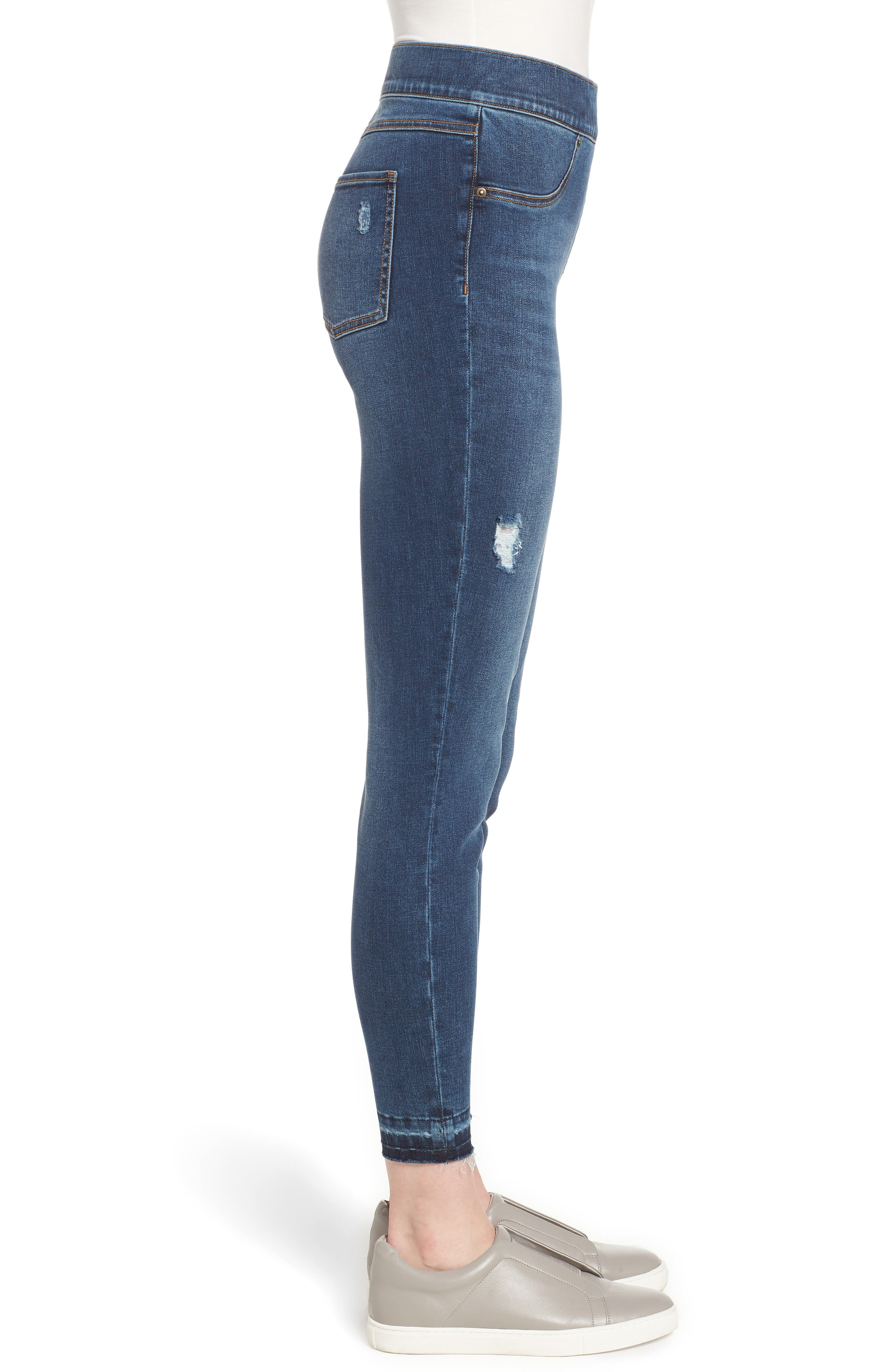 SPANX<SUP>®</SUP>, Distressed Skinny Jeans, Alternate thumbnail 4, color, MEDIUM WASH