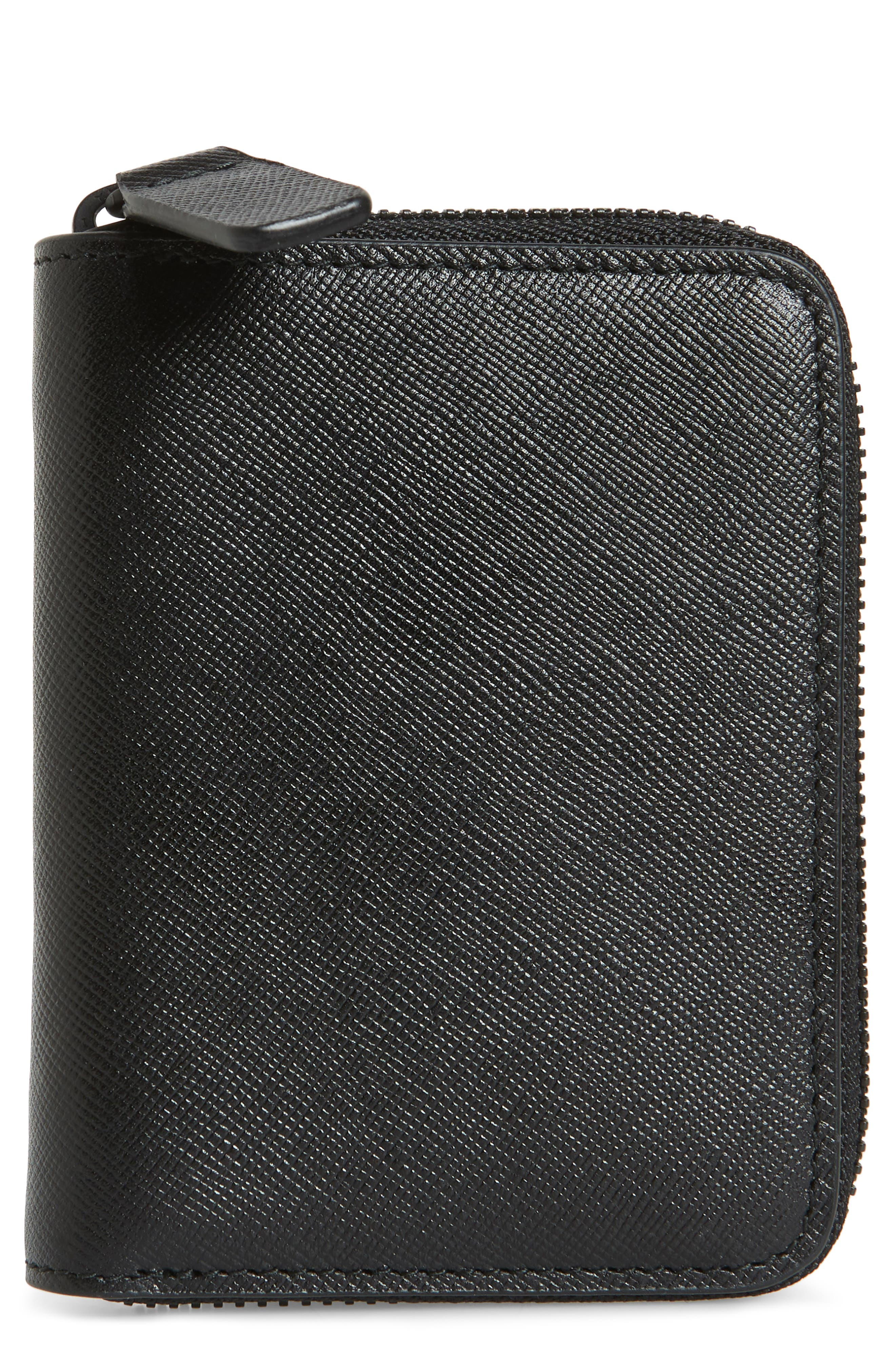 COMMON PROJECTS, Saffiano Zip Coin Case, Main thumbnail 1, color, 001