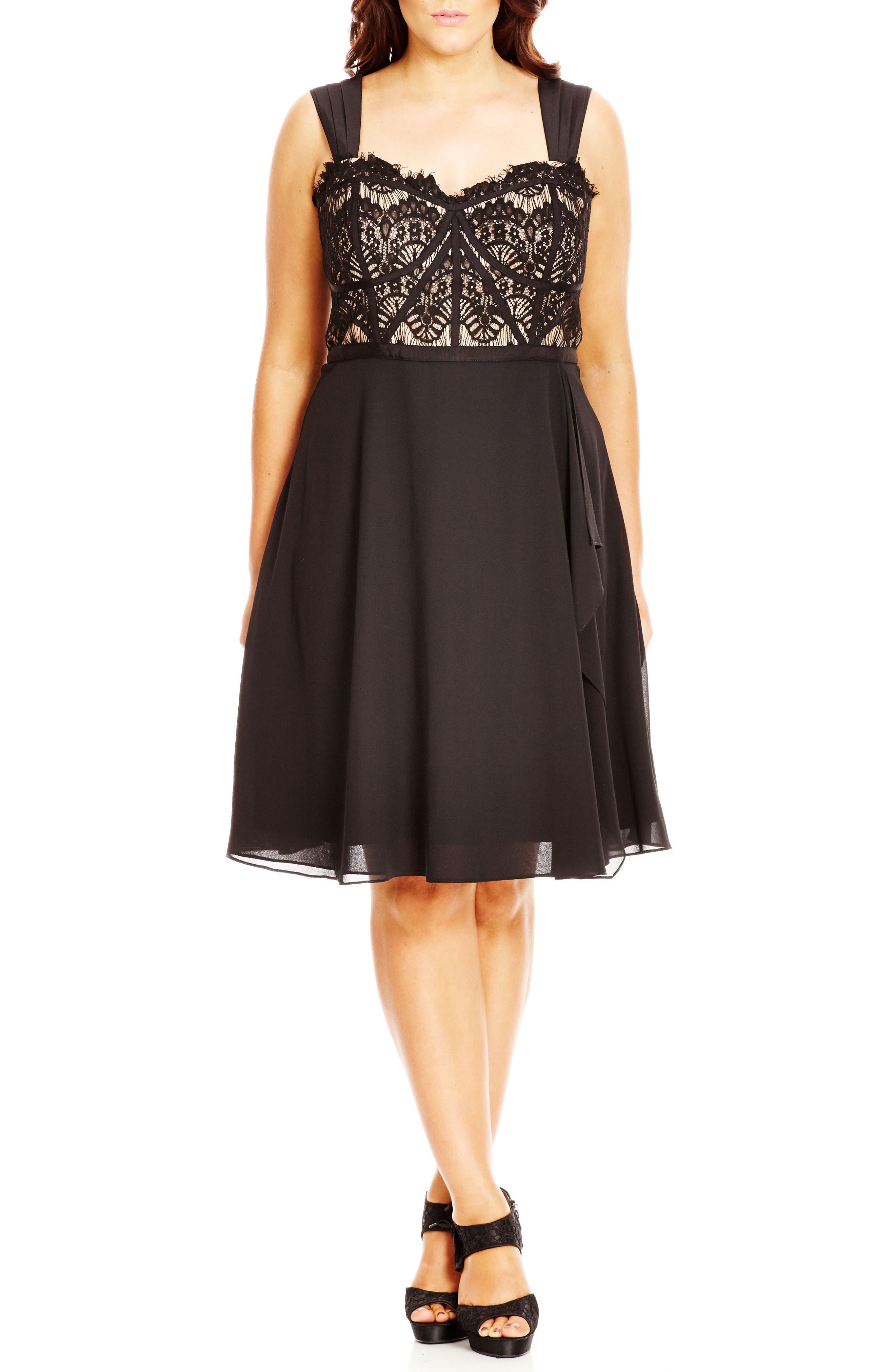 CITY CHIC, 'Eyelash Evie' Lace & Chiffon Cocktail Dress, Main thumbnail 1, color, BLACK