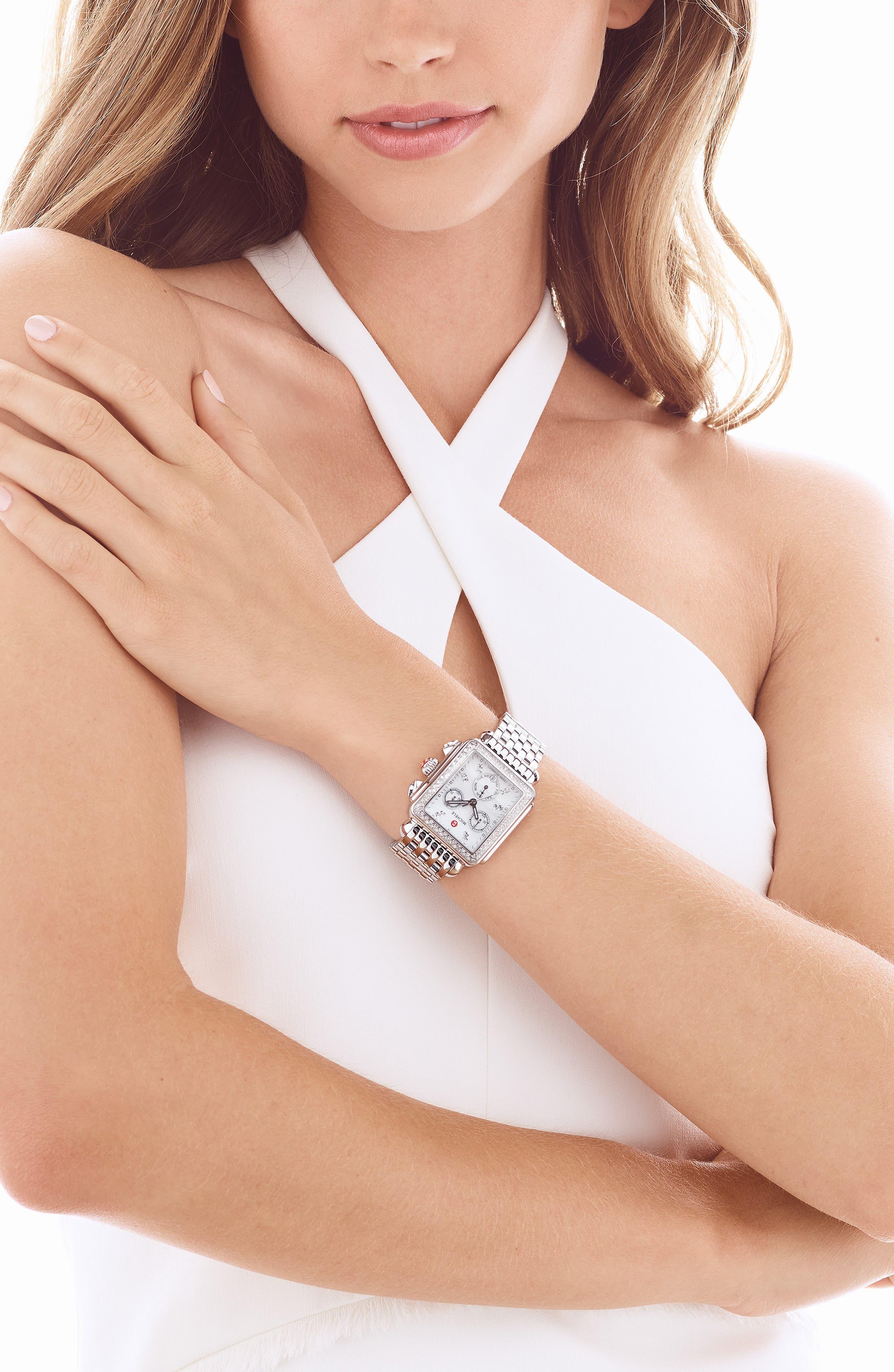 MICHELE, Deco 18mm Bracelet Watchband, Alternate thumbnail 2, color, SILVER
