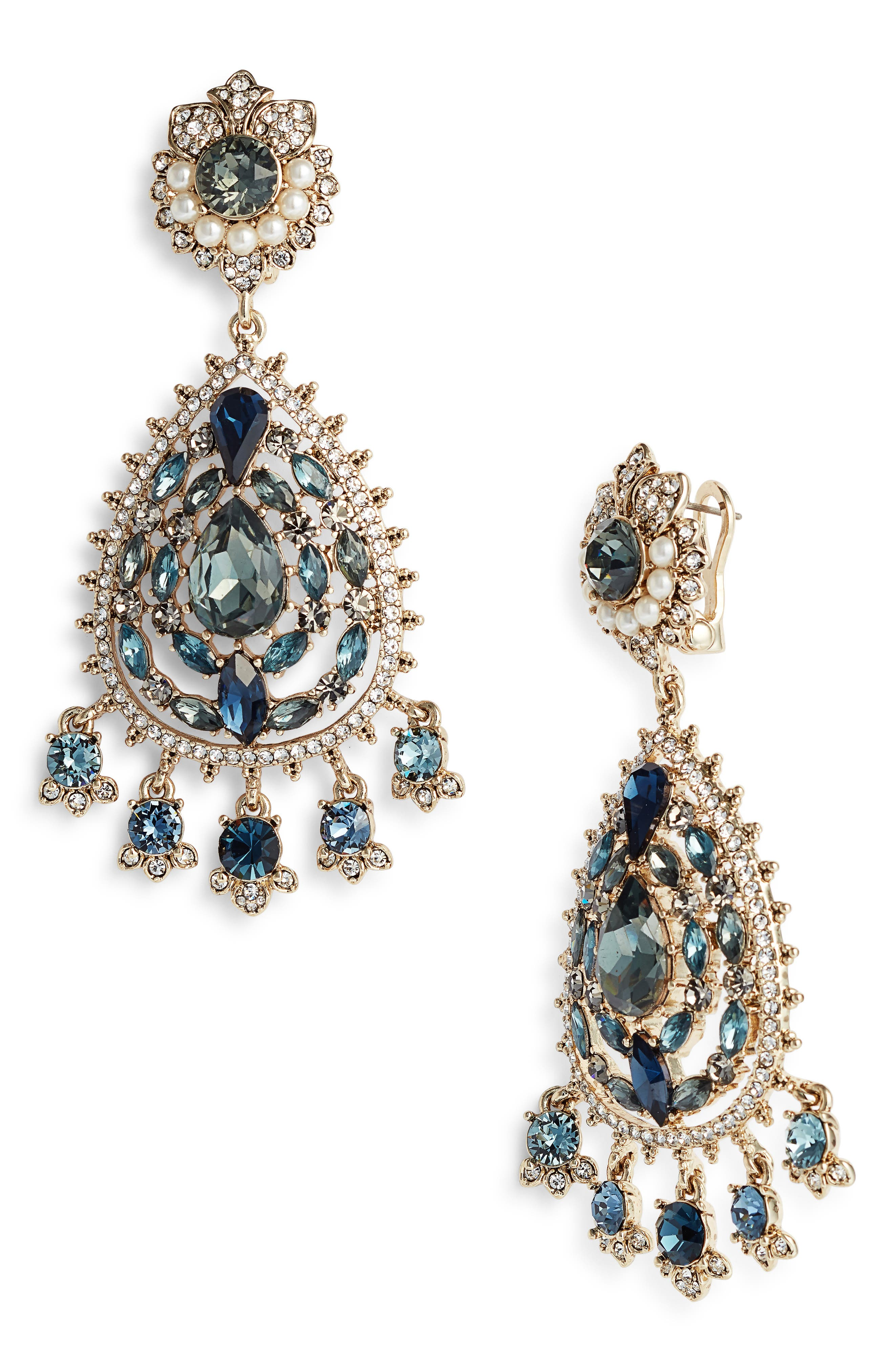 MARCHESA, Chandelier Earrings, Main thumbnail 1, color, BLUE MULTI/ GOLD