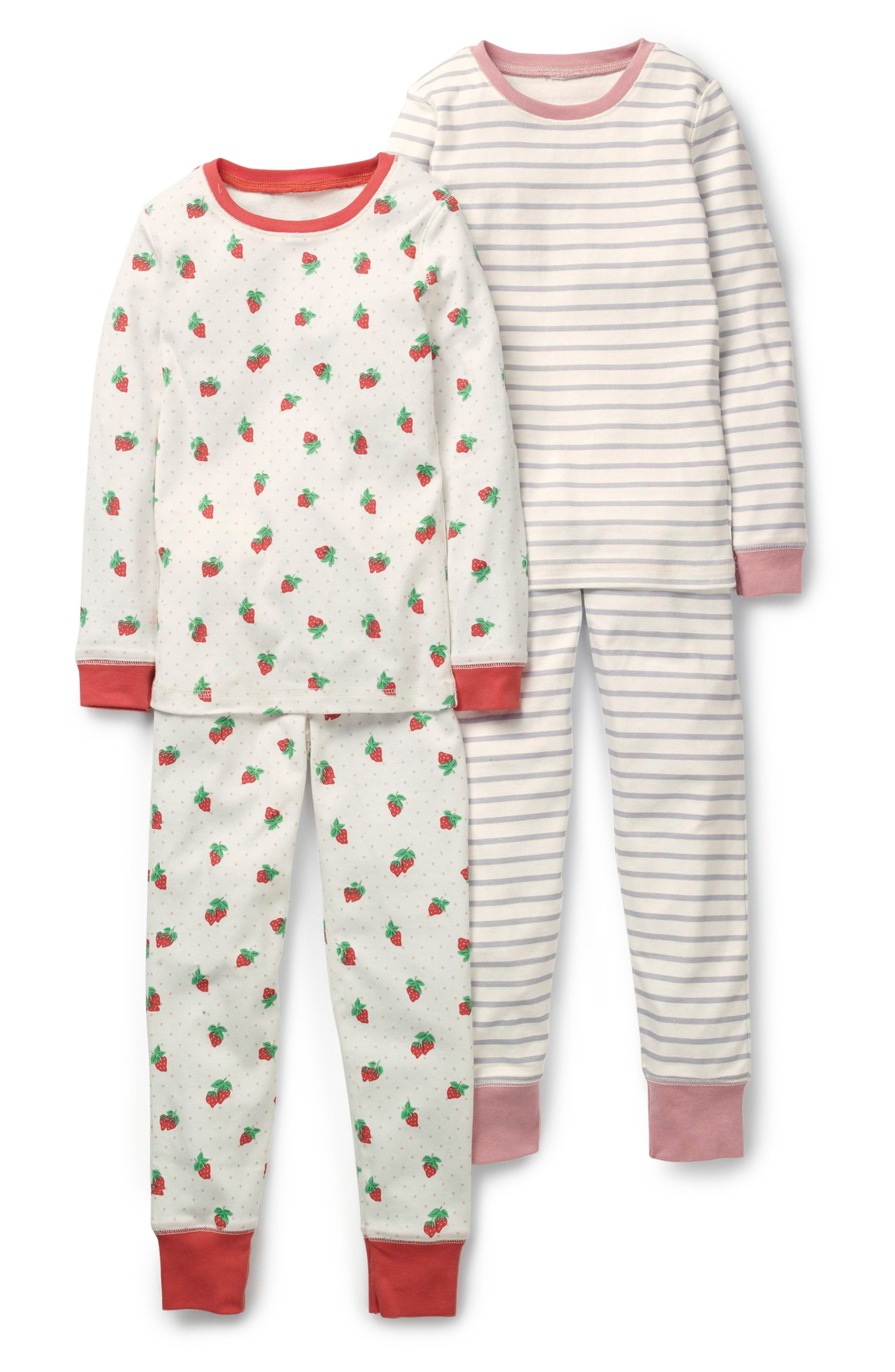 Girls Mini Boden 2Pack Fitted TwoPiece Pajamas Size 8Y  Ivory