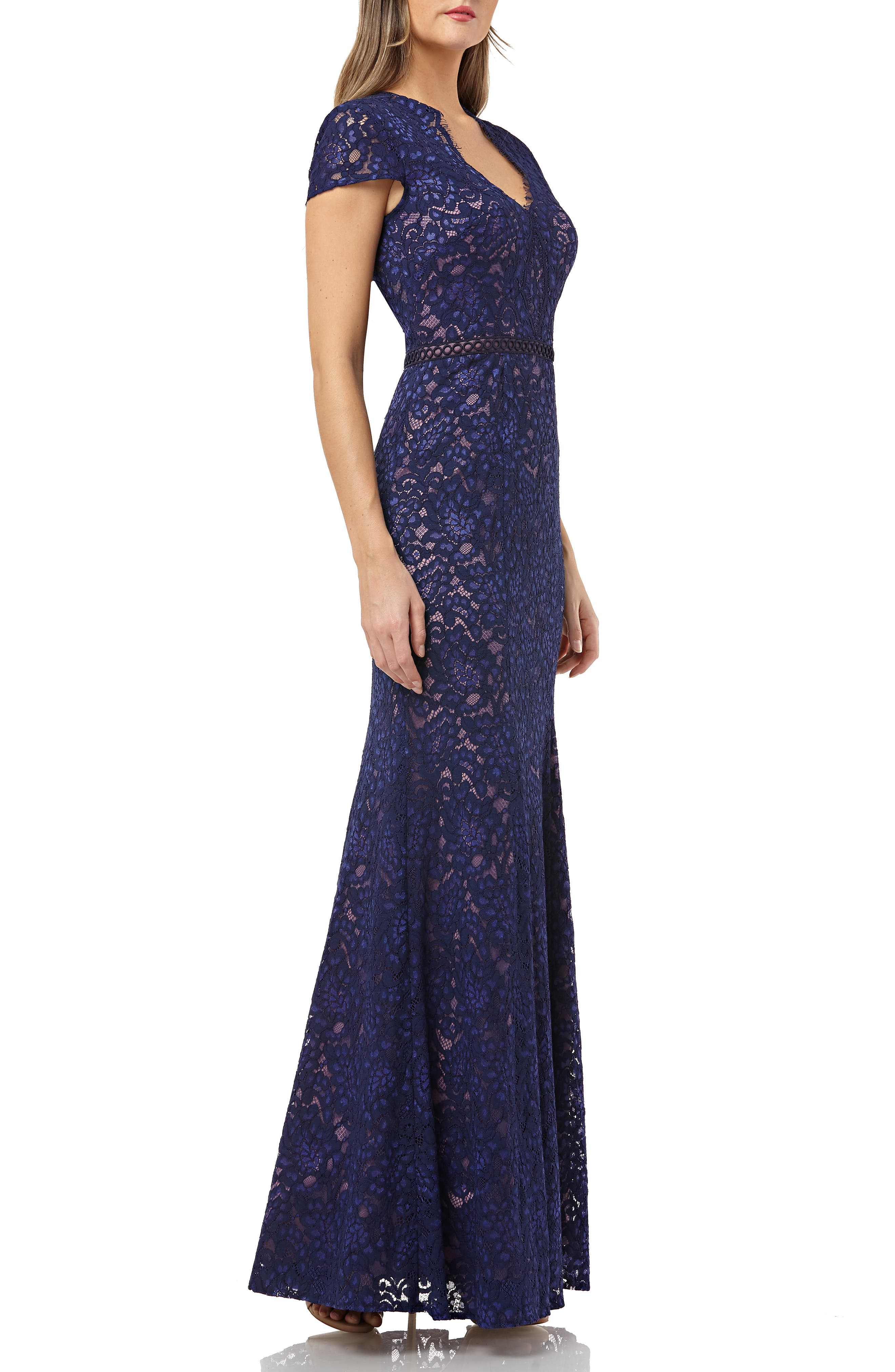 JS COLLECTIONS, Lace Mermaid Gown, Alternate thumbnail 4, color, NAVY/ ROSE