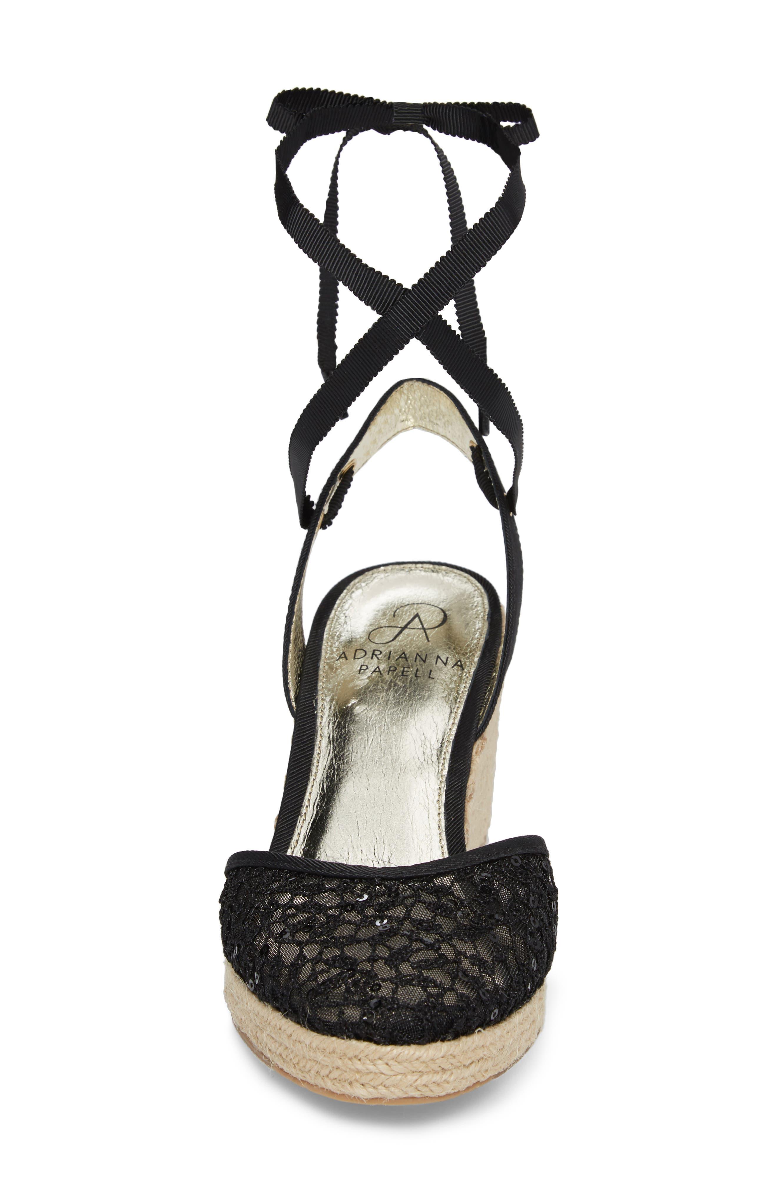 ADRIANNA PAPELL, Pamela Espadrille Wedge Sandal, Alternate thumbnail 4, color, BLACK LACE FABRIC
