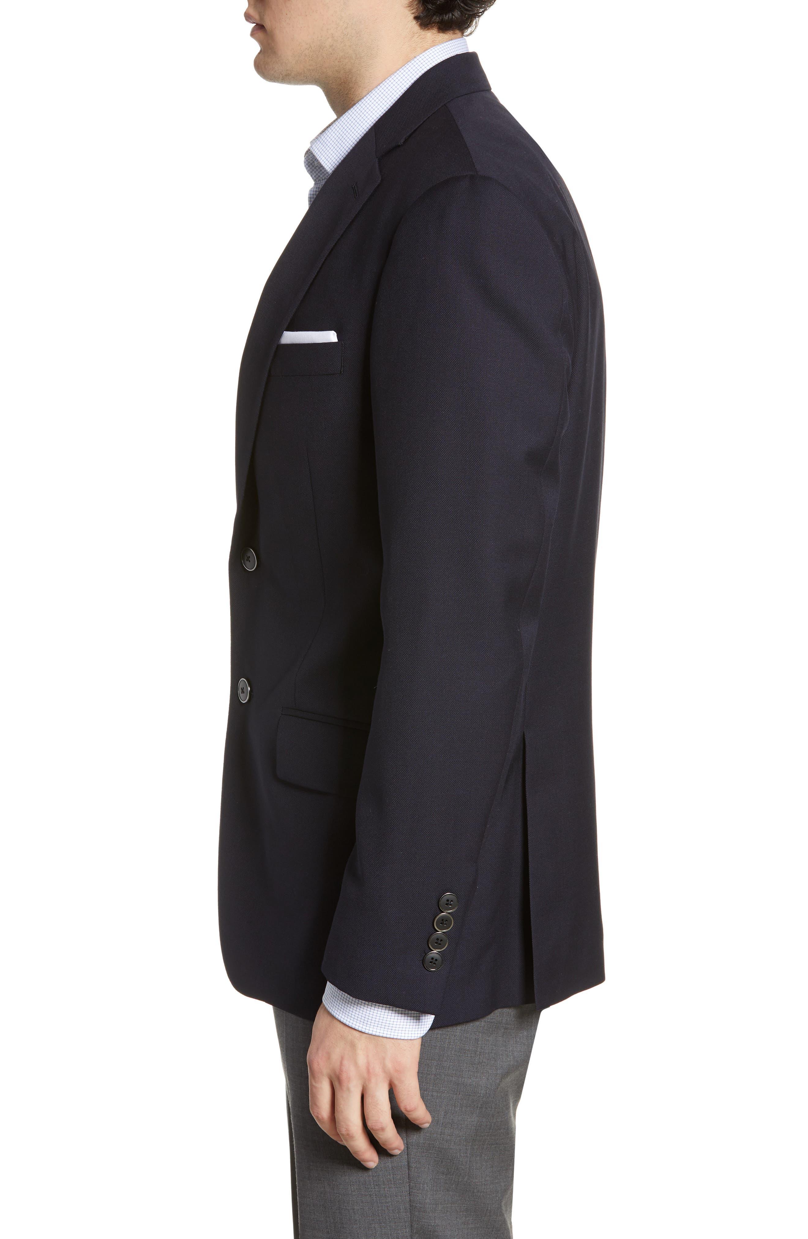 HART SCHAFFNER MARX, New York Classic Fit Wool Blend Blazer, Alternate thumbnail 4, color, NAVY