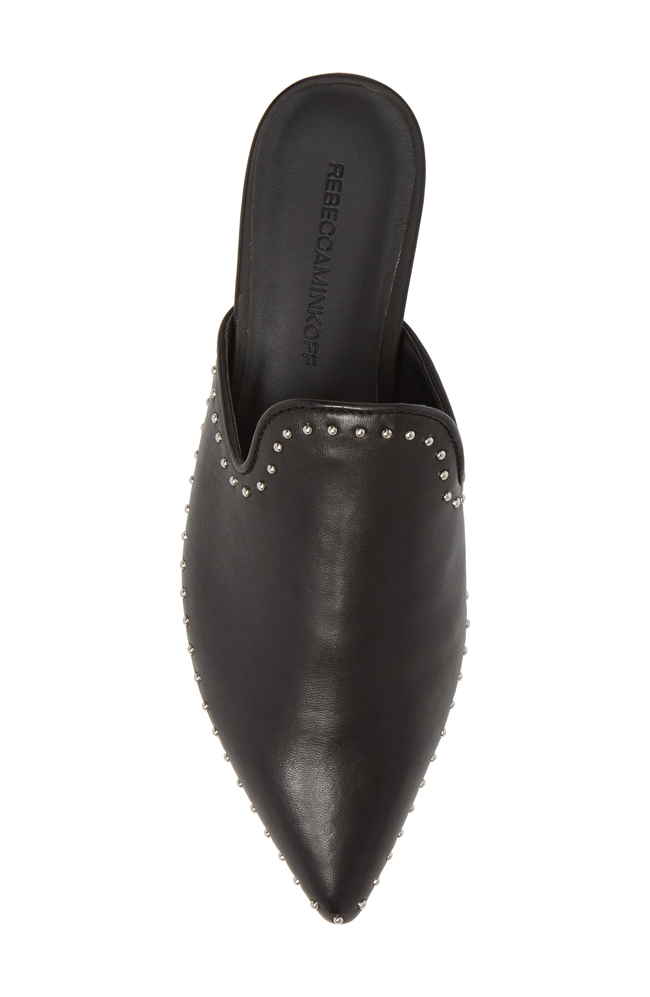 REBECCA MINKOFF, Chamille Studded Mule, Alternate thumbnail 5, color, BLACK LEATHER