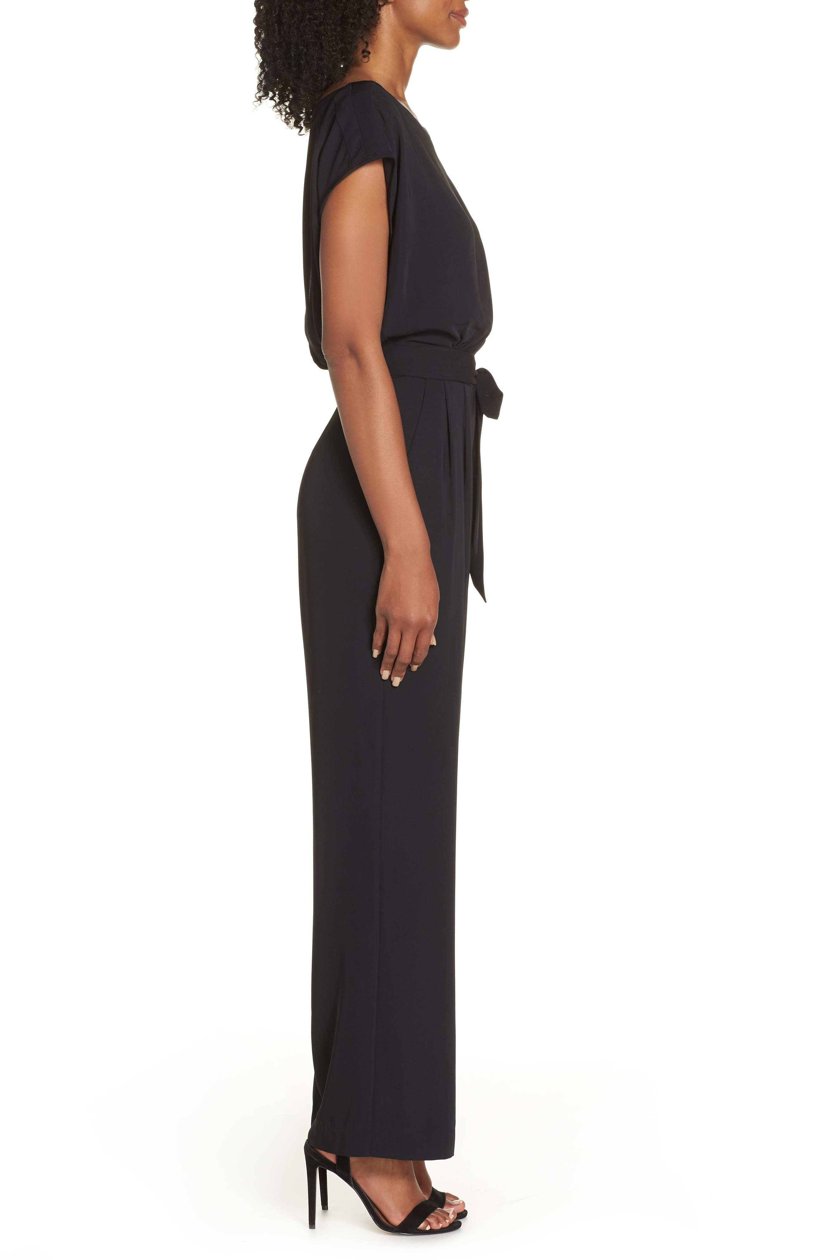 ELIZA J, Cap Sleeve Wide Leg Jumpsuit, Alternate thumbnail 4, color, BLACK