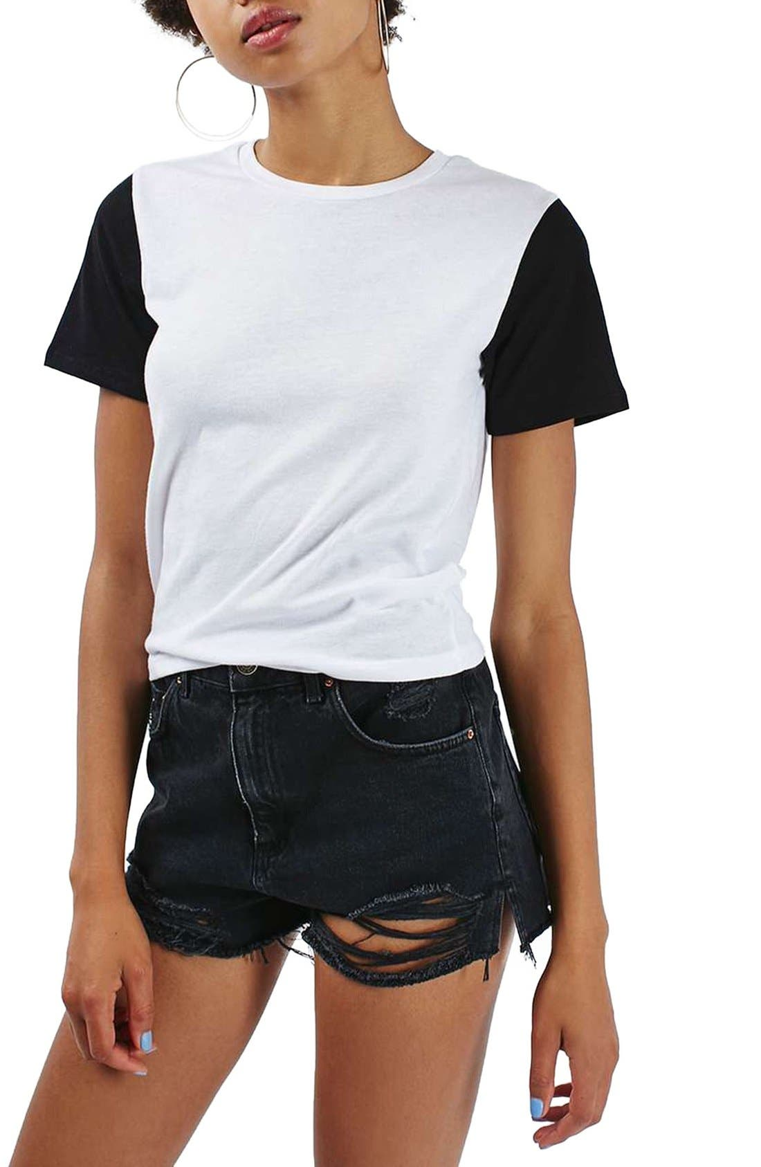 TOPSHOP, Colorblock Tee, Main thumbnail 1, color, 001