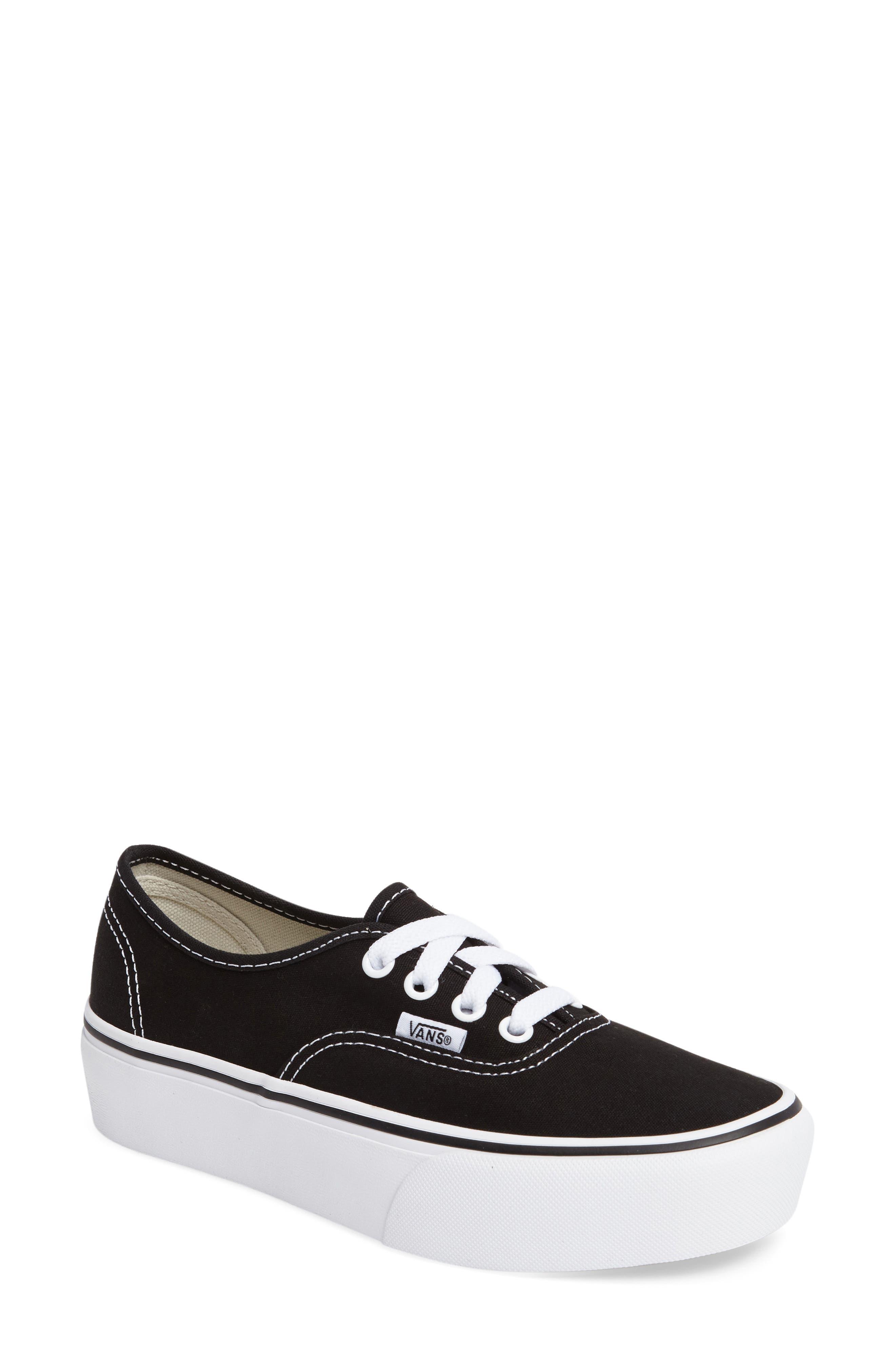 VANS, 'Authentic' Platform Sneaker, Main thumbnail 1, color, BLACK/ WHITE