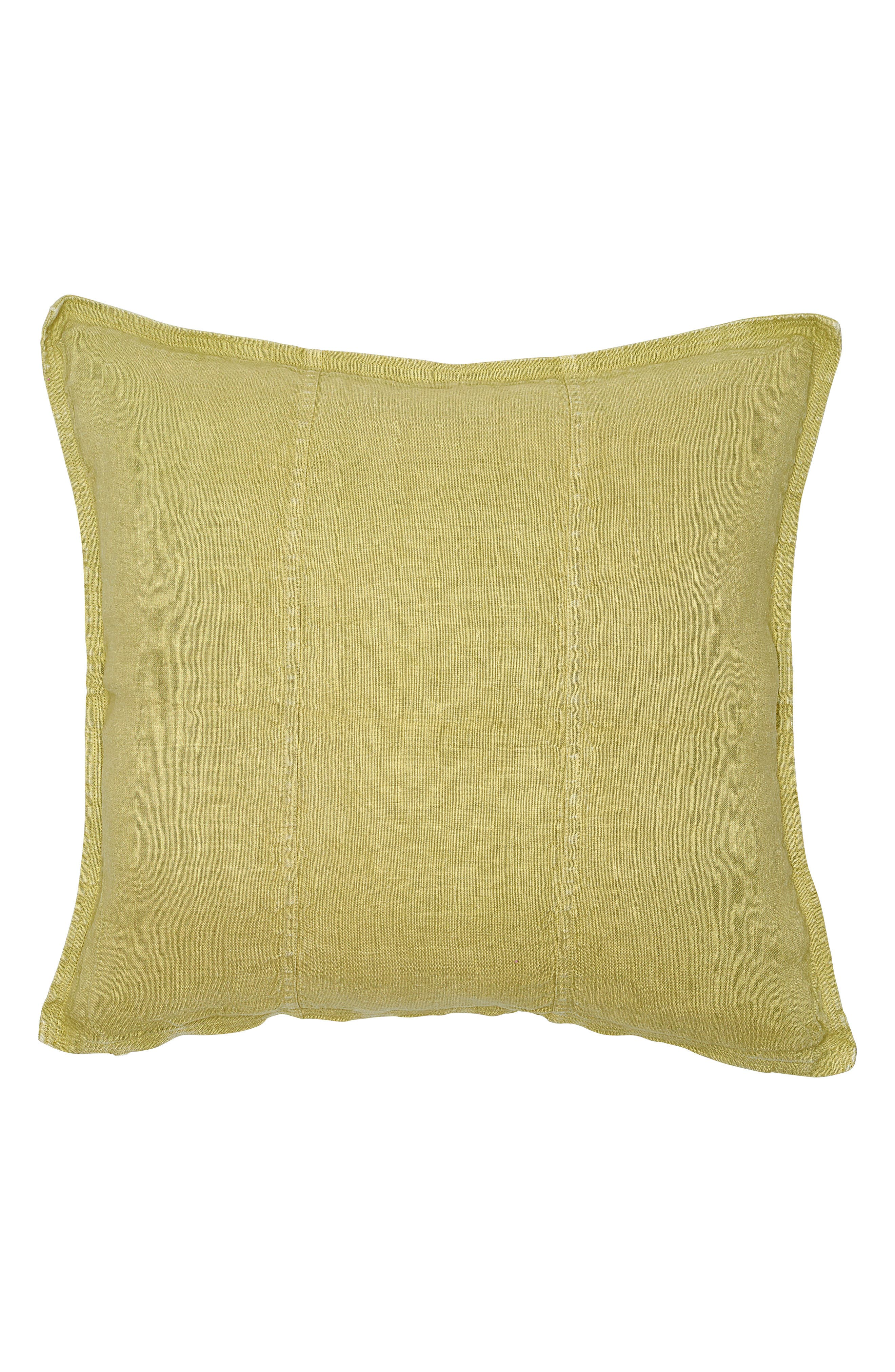 EADIE LIFESTYLE, Luca Pre Washed Linen Accent Pillow, Main thumbnail 1, color, LIME GREEN