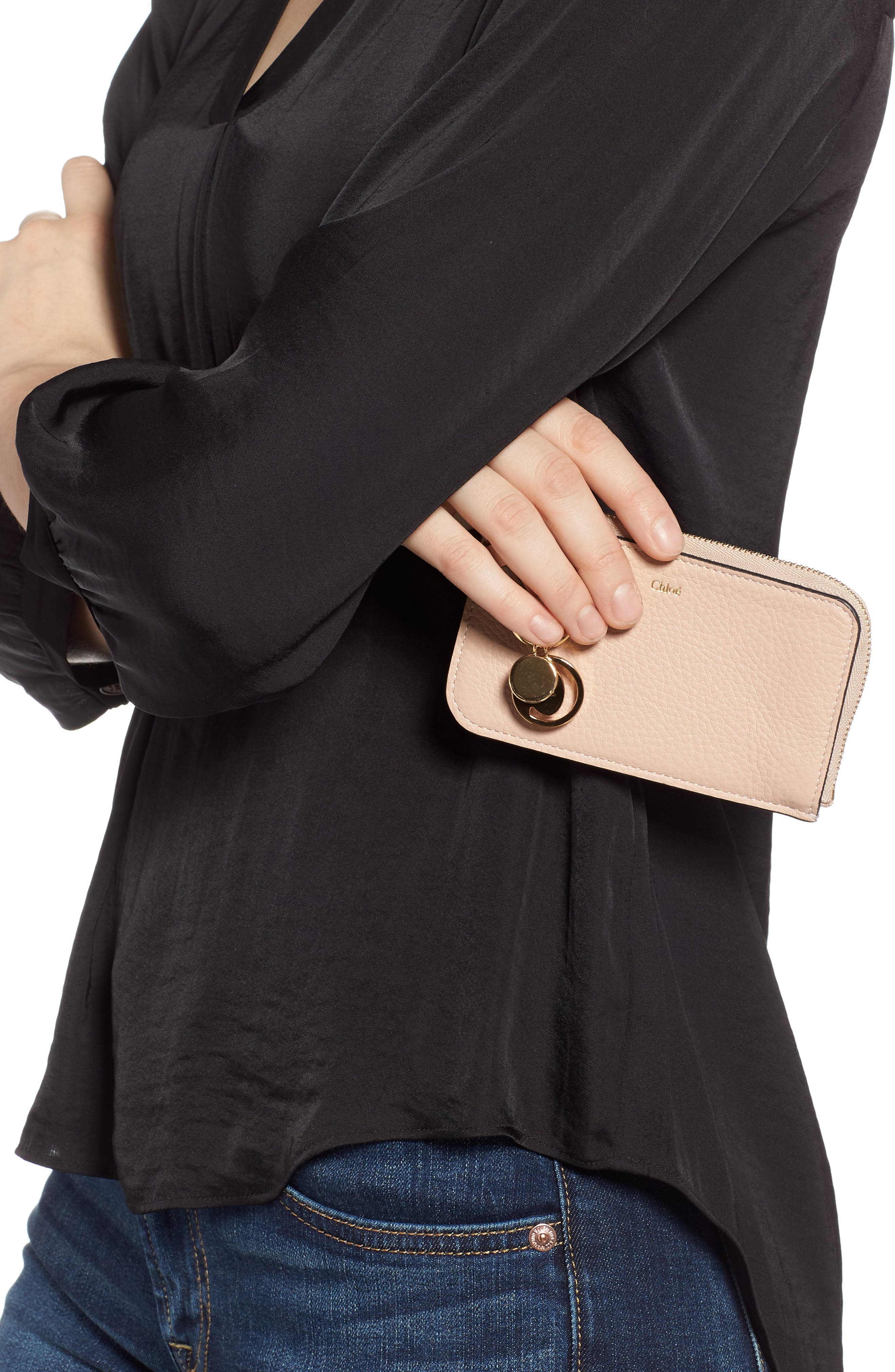 CHLOÉ, Alphabet Leather Card Holder, Alternate thumbnail 3, color, BLUSH NUDE