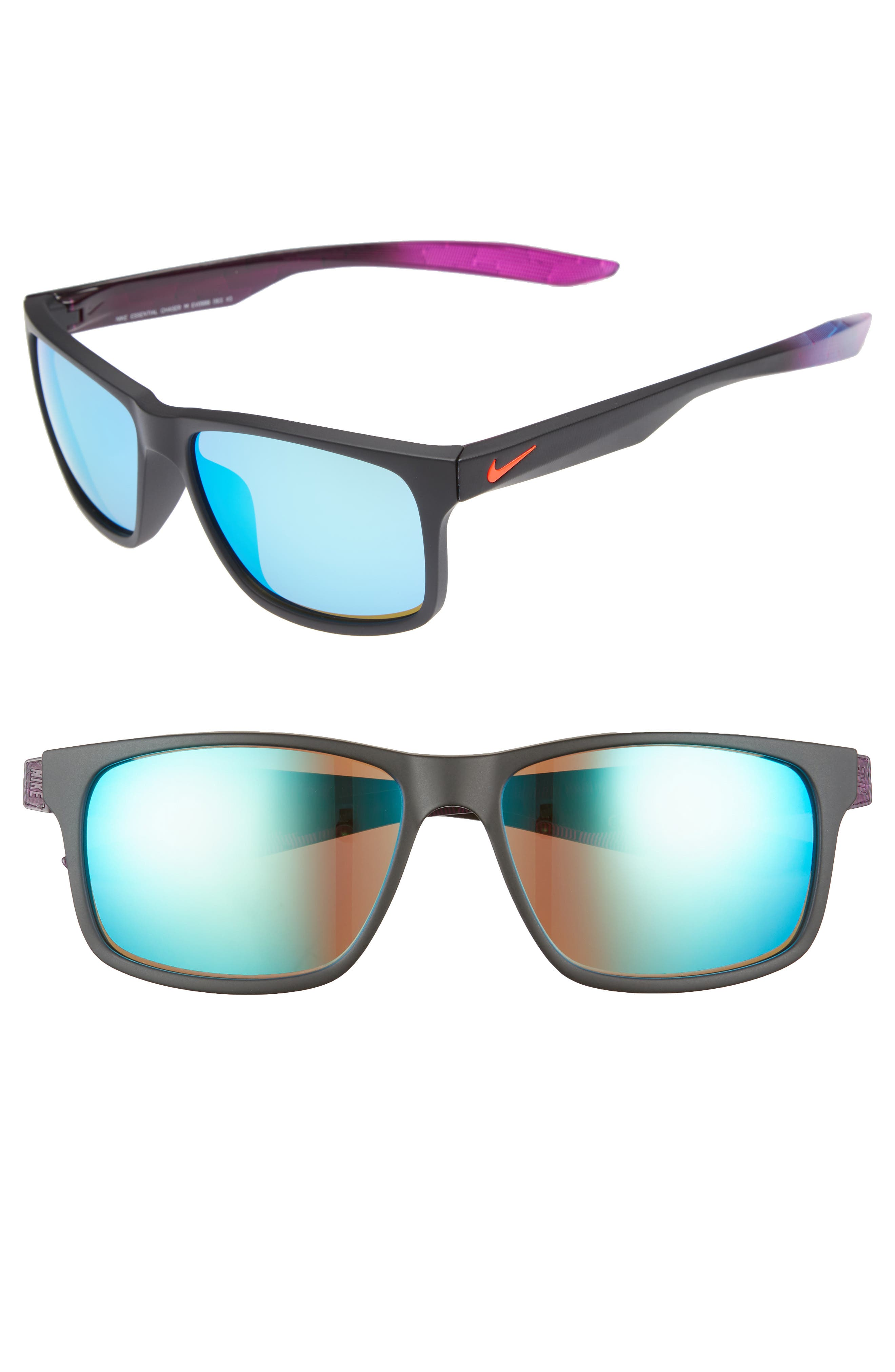 NIKE, Essential Chaser 57mm Reflective Sunglasses, Main thumbnail 1, color, MATTE BLACK/ GREEN