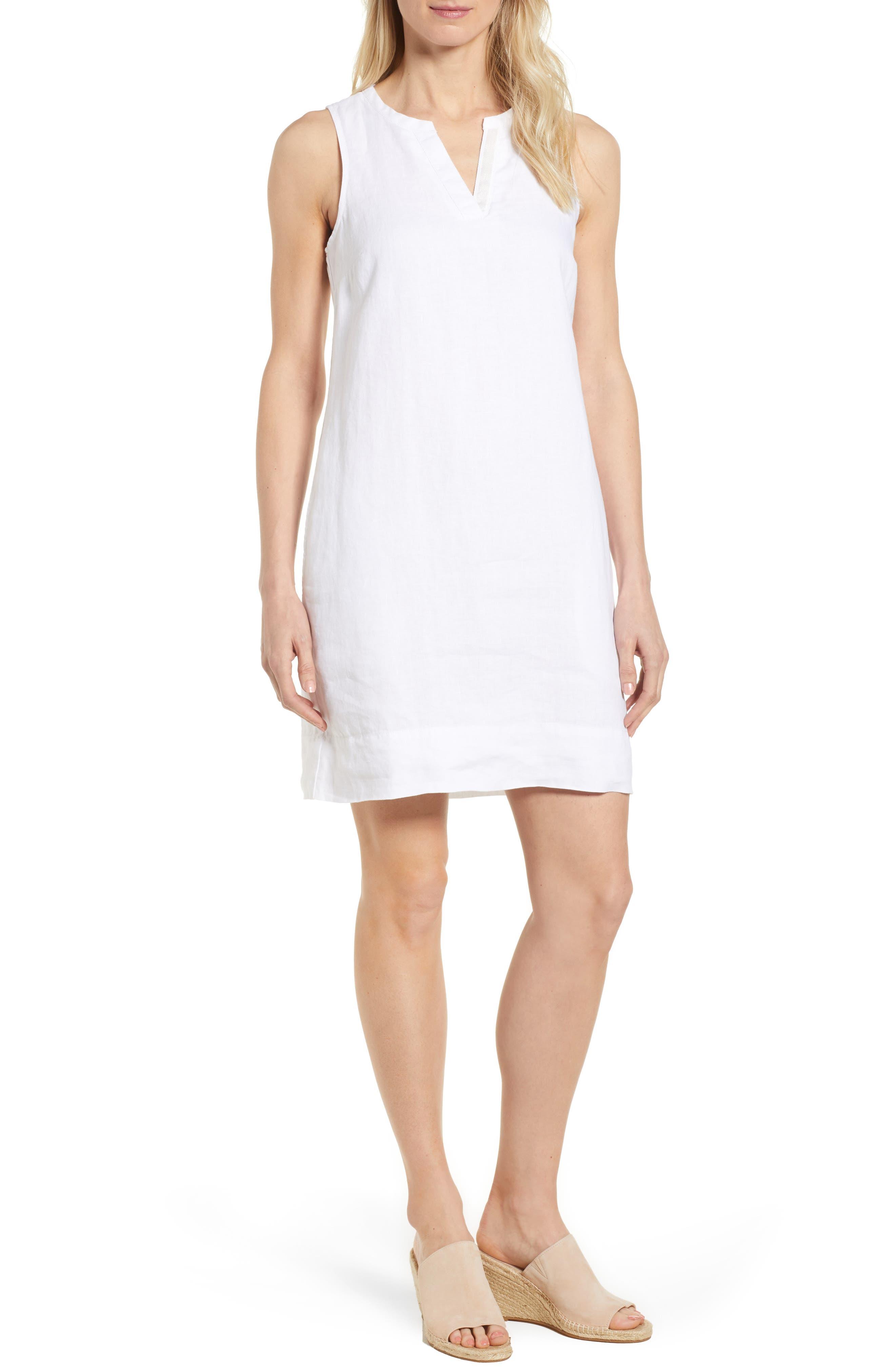 TOMMY BAHAMA, Sea Glass Linen Shift Dress, Main thumbnail 1, color, WHITE