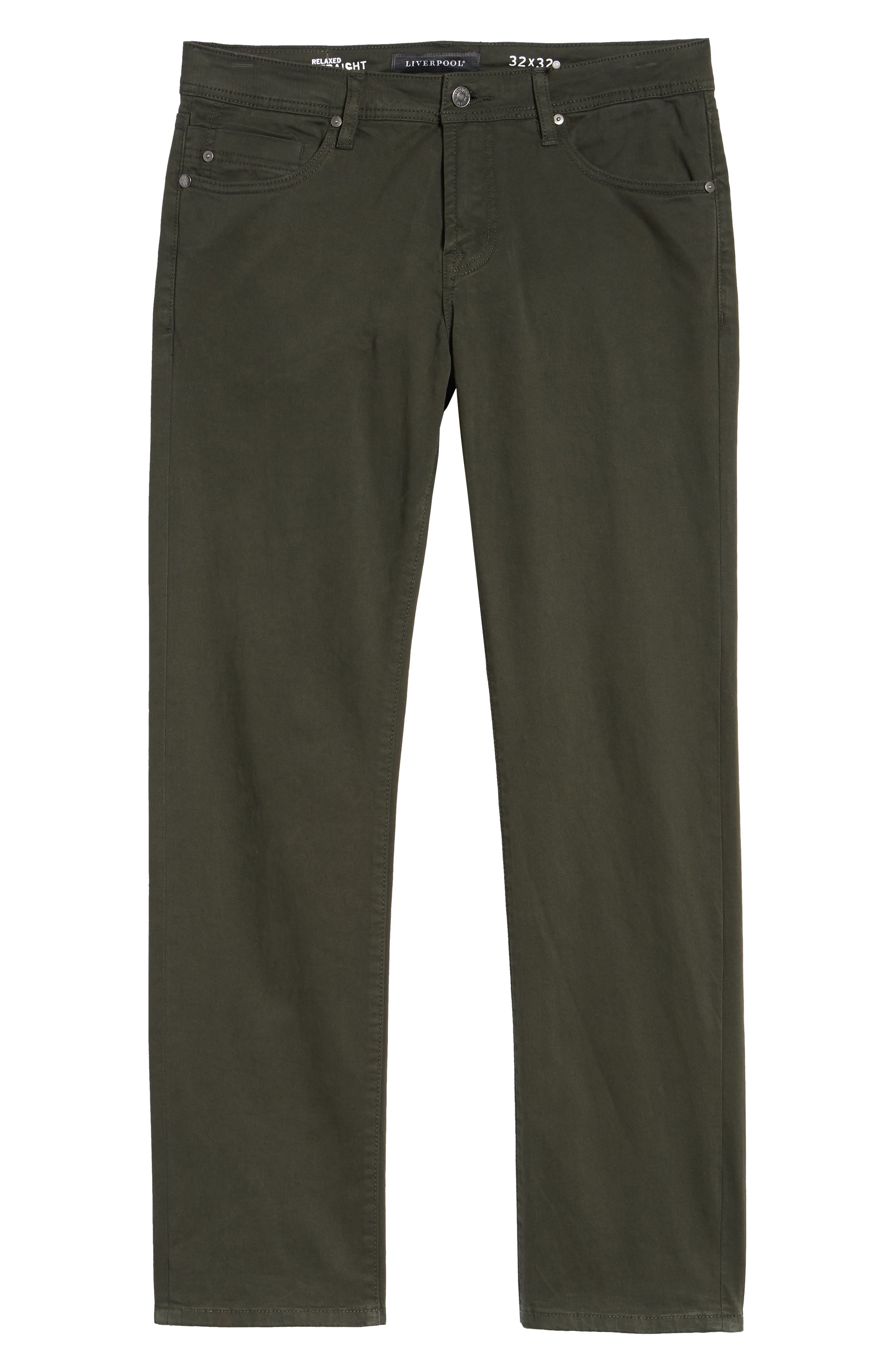 LIVERPOOL, Regent Relaxed Straight Leg Twill Pants, Alternate thumbnail 7, color, OLIVE MULCH
