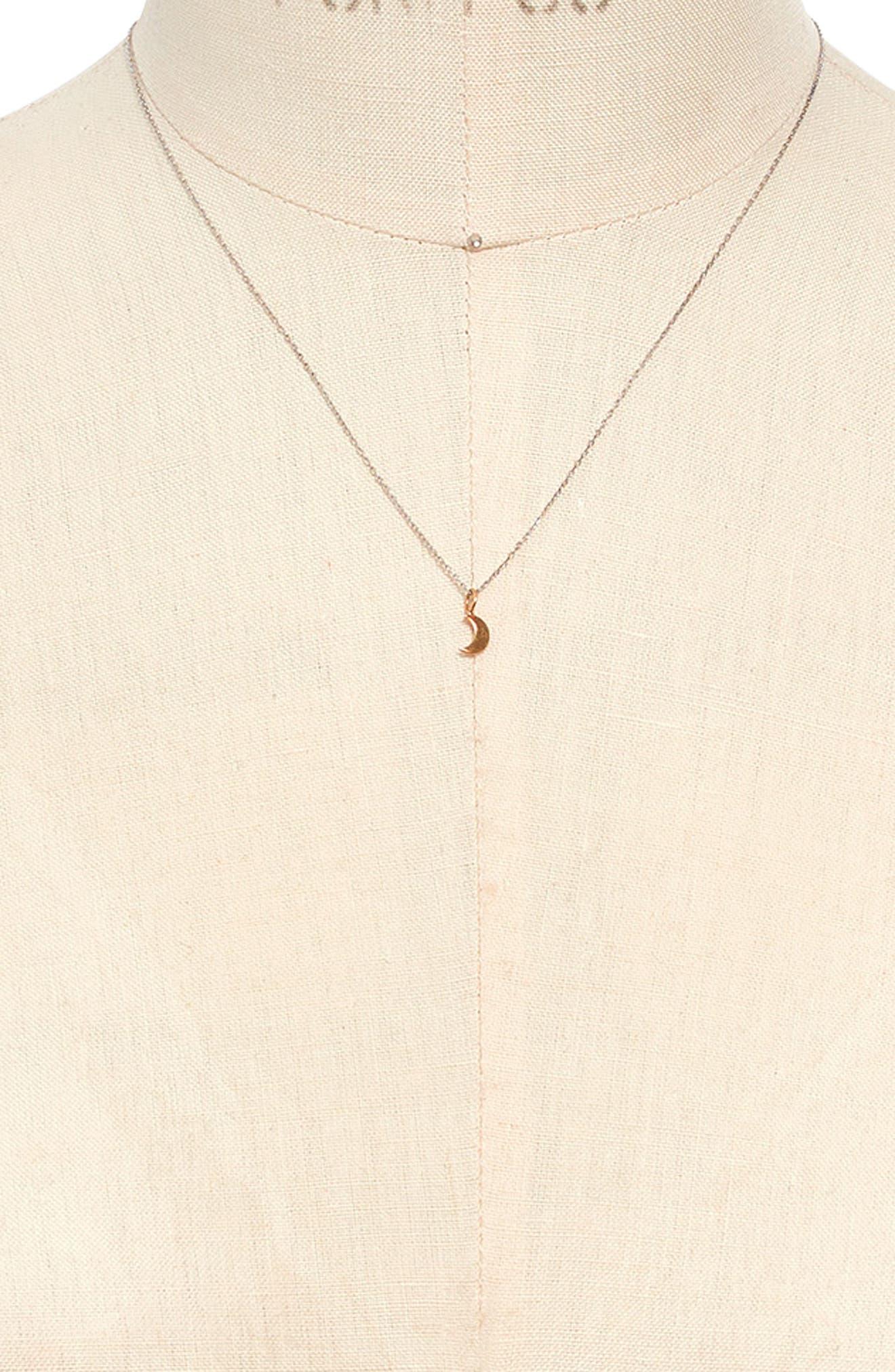 MADEWELL, Vermeil Crescent Moon Charm Necklace, Alternate thumbnail 2, color, VERMEIL
