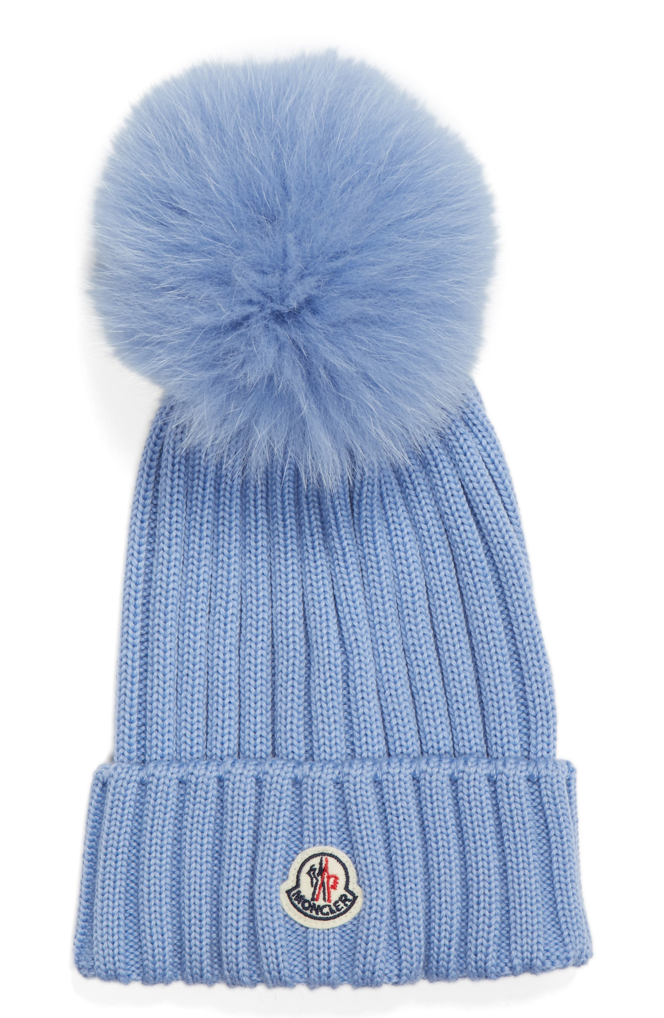 MONCLER, Genuine Fox Fur Pom Wool Beanie, Main thumbnail 1, color, BLUE