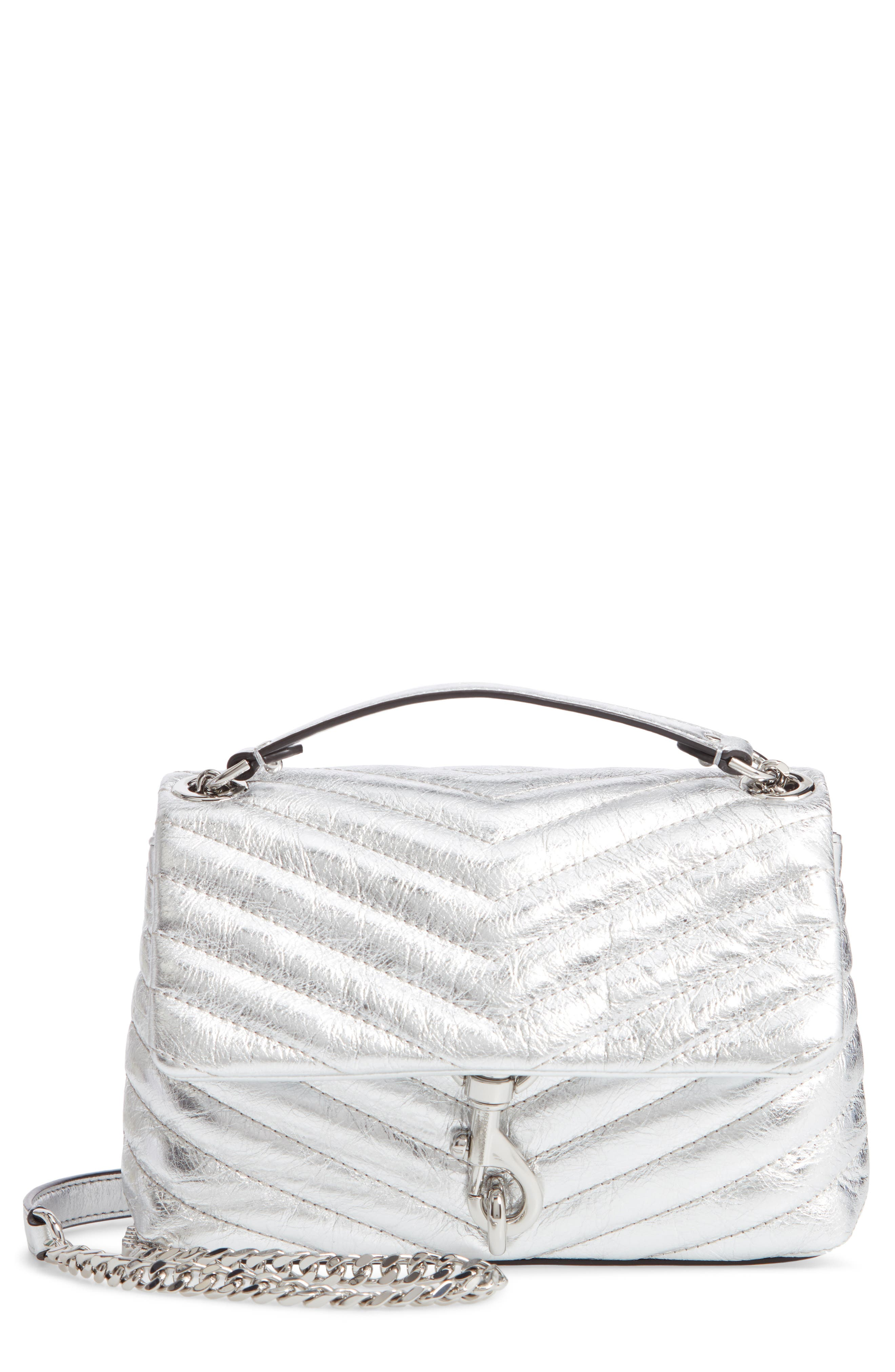 REBECCA MINKOFF, Edie Metallic Leather Shoulder Bag, Main thumbnail 1, color, SILVER