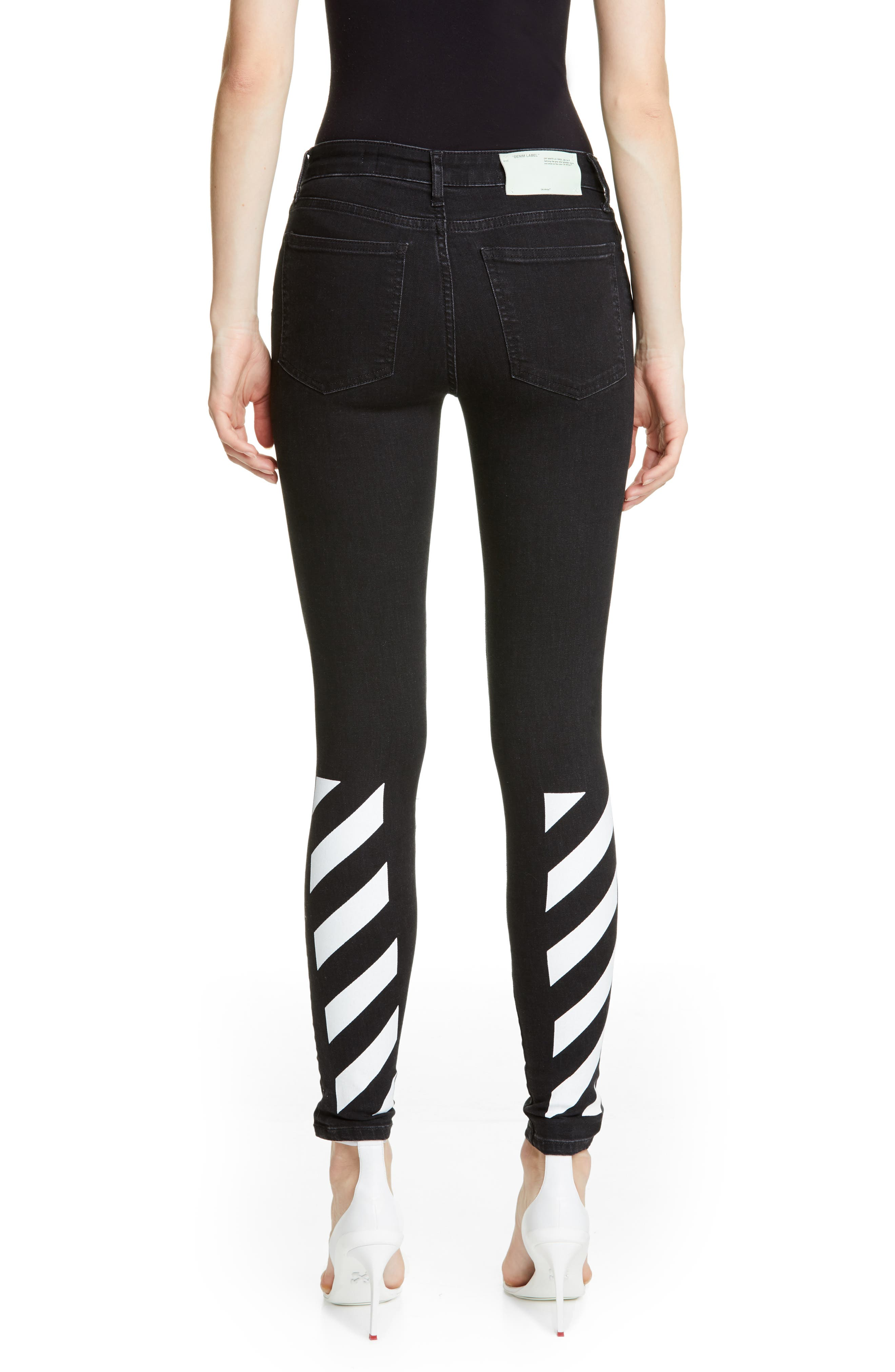 OFF-WHITE, Floral Embroidered Diagonal Stripe Skinny Jeans, Alternate thumbnail 2, color, VINTAGE BLACK