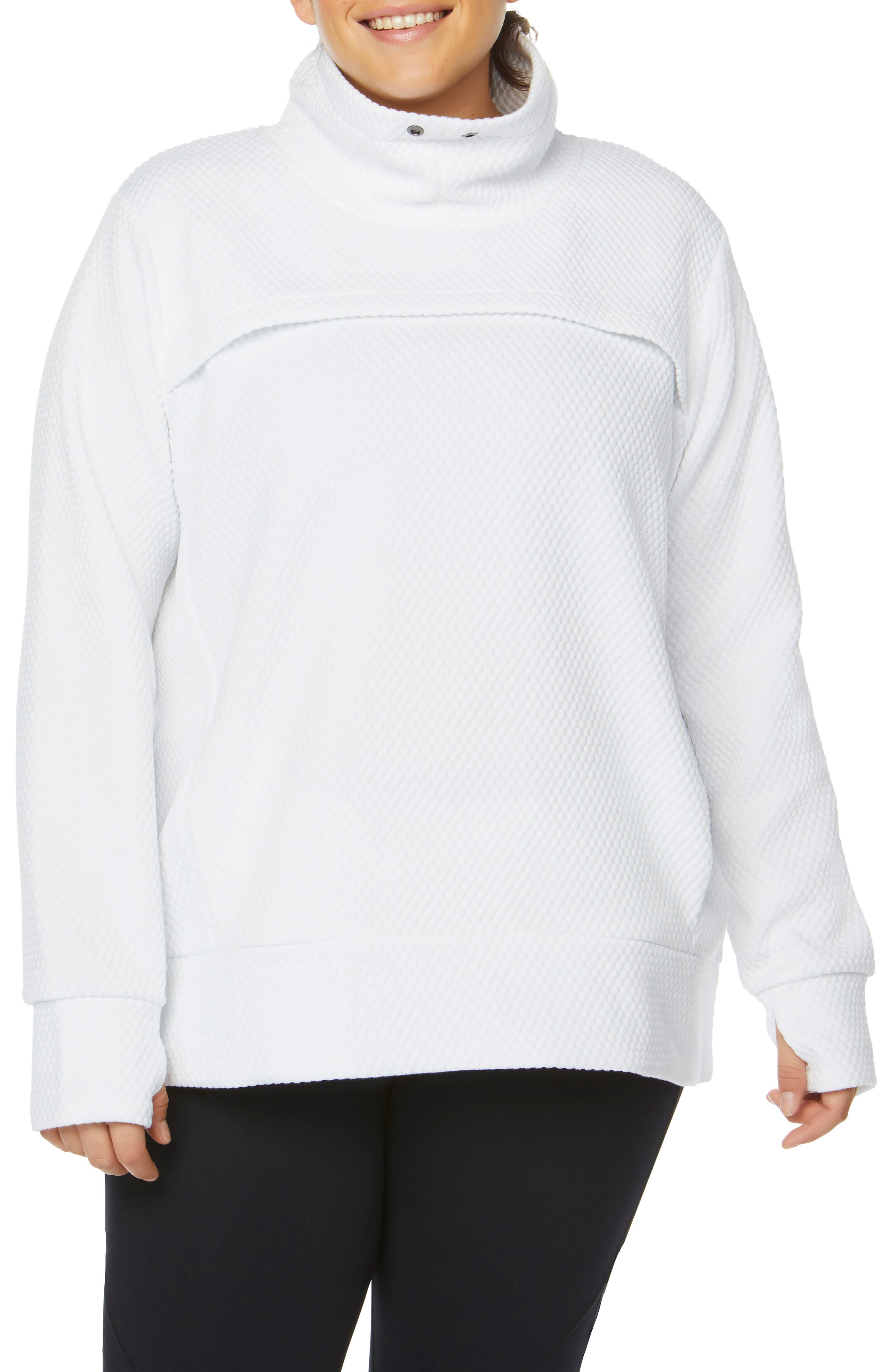 SHAPE ACTIVEWEAR, Overcast Funnel Neck Pullover, Alternate thumbnail 5, color, 100