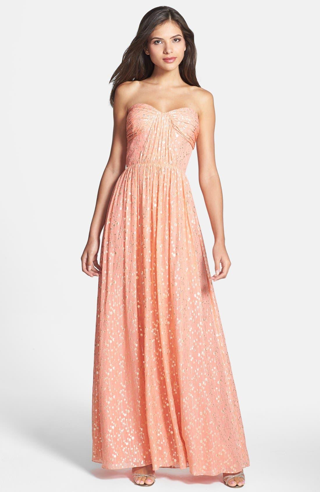 ERIN ERIN FETHERSTON, 'Monique' Foiled Silk Chiffon Gown, Main thumbnail 1, color, 950
